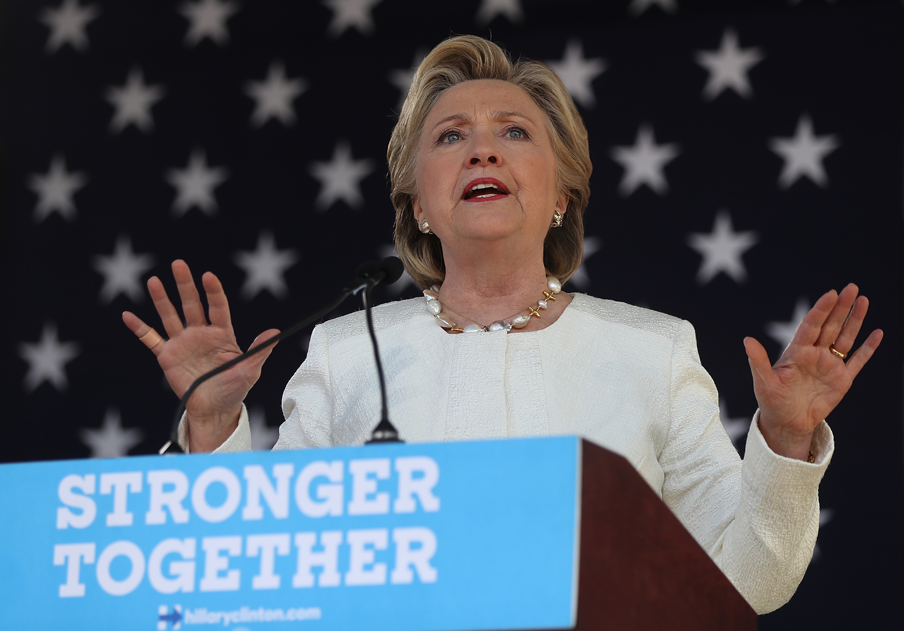 Democratic presidential nominee former Secretary of State Hillary Clinton speaks during a campaign rally on November 1, 2016 in Dade City, Florida.