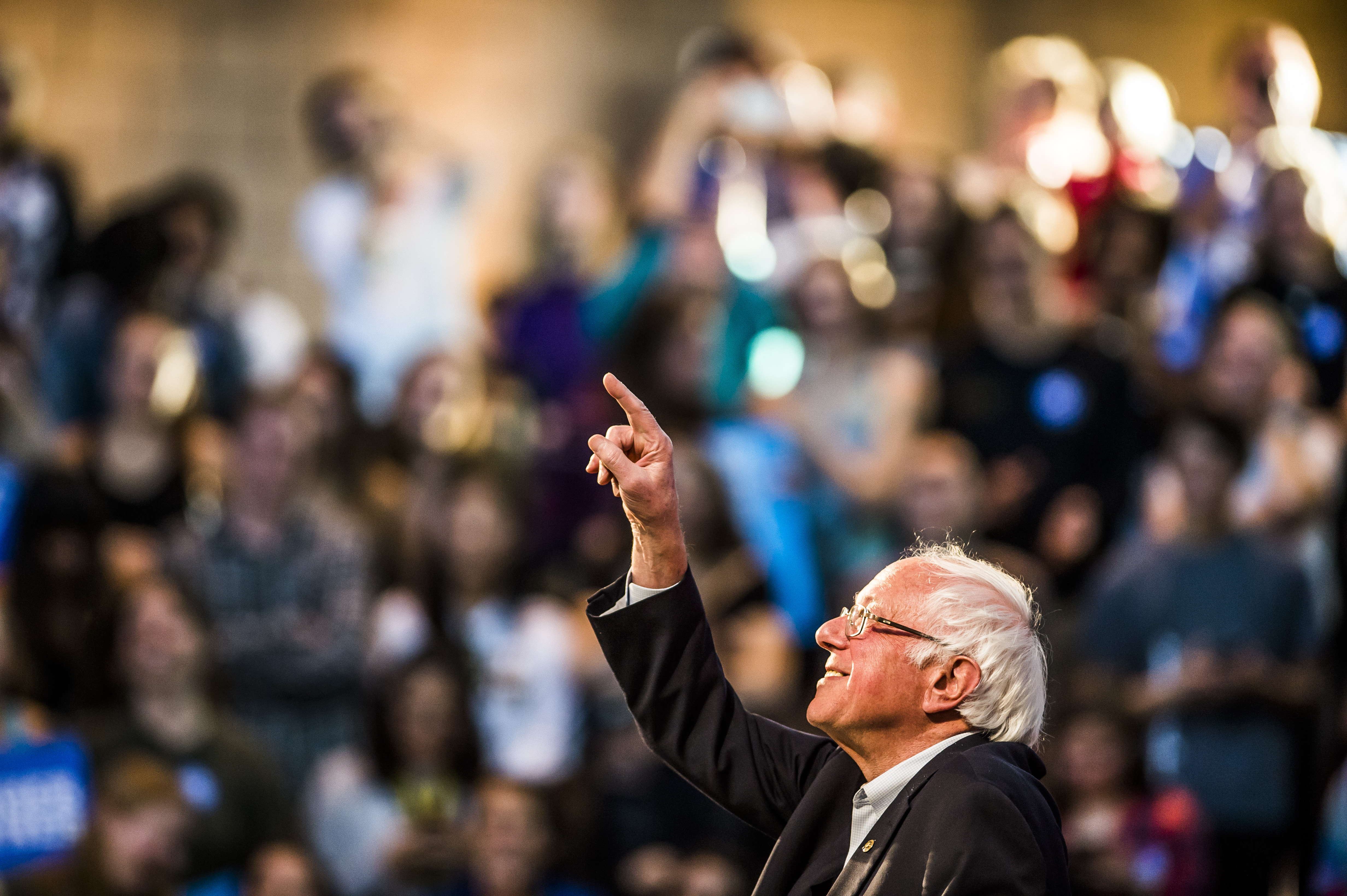 Vermont Sen. Bernie Sanders points to a supporter during a Get Out the Vote rally at Colorado College on Saturday, Nov. 5, 2016.