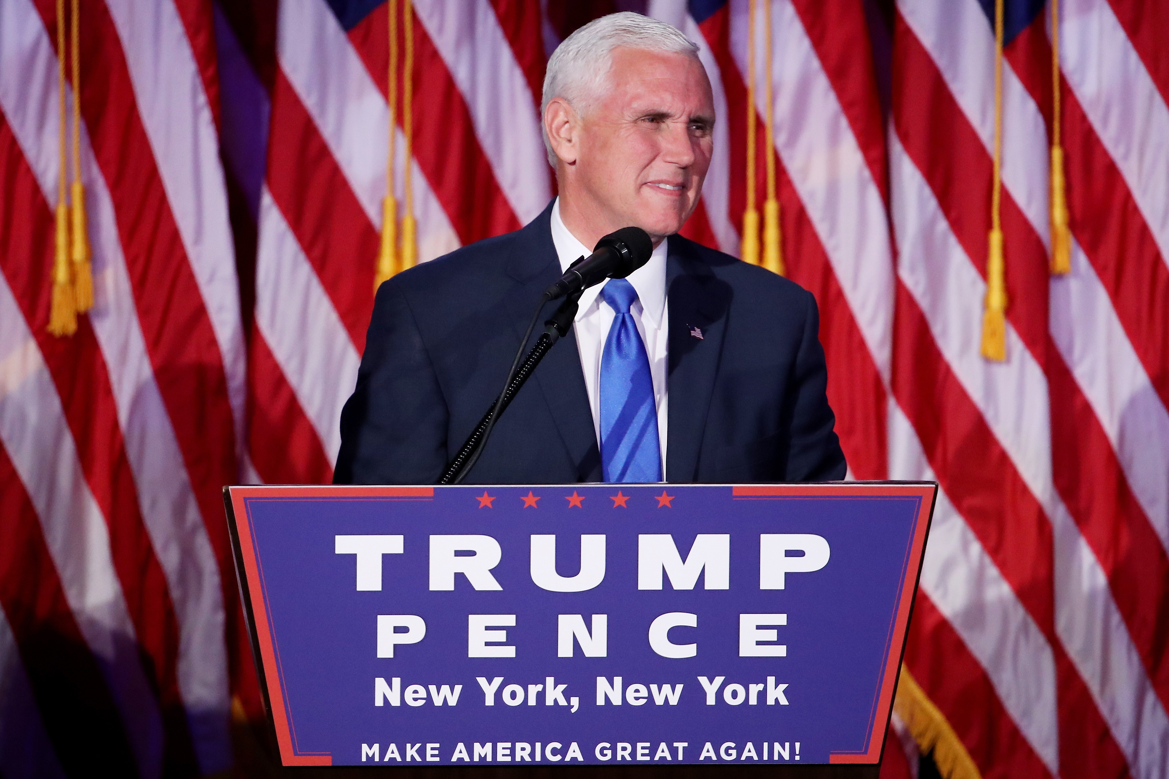 Vice president-elect Mike Pence speaks to supporters on November 9, 2016 in New York City.