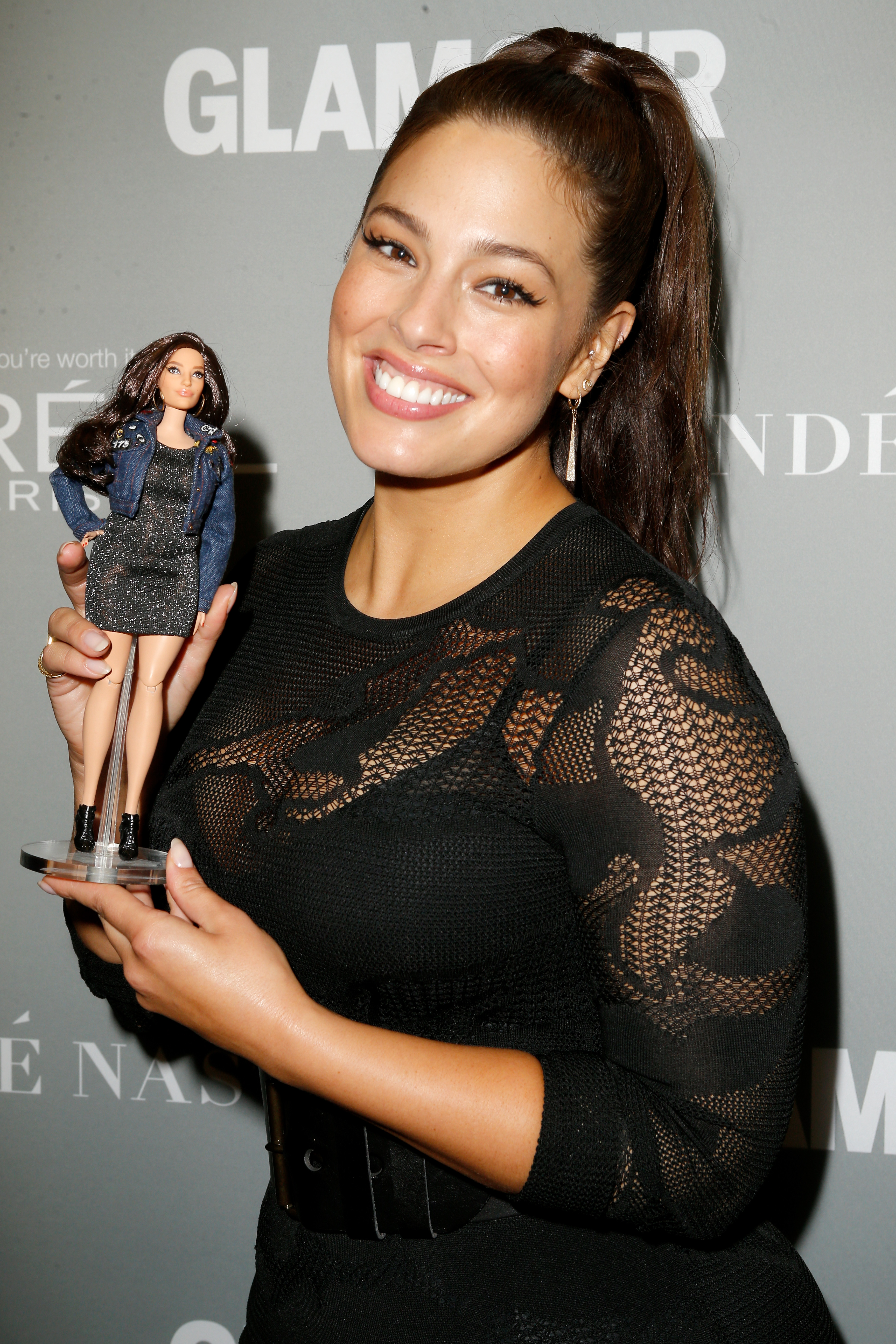 Model Ashley Graham poses with the new Barbie backstage at Glamour Women Of The Year 2016 LIVE Summit in Los Angeles.