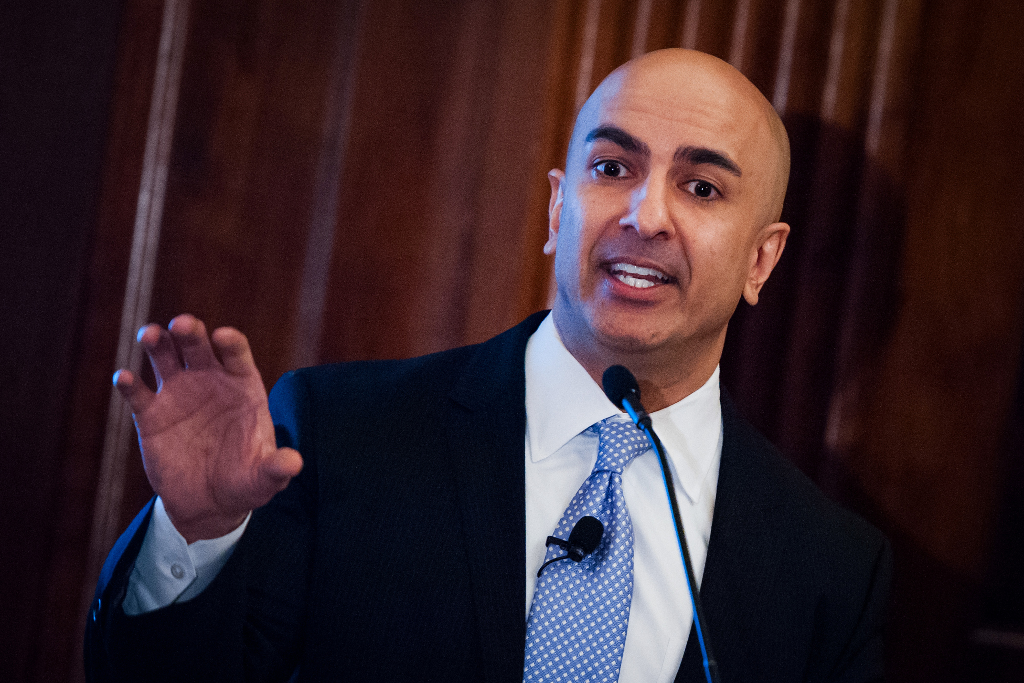 Neel Kashkari, president and chief executive officer of the Federal Reserve Bank of Minneapolis, speaks at the Economic Club of New York Nov. 16, 2016.