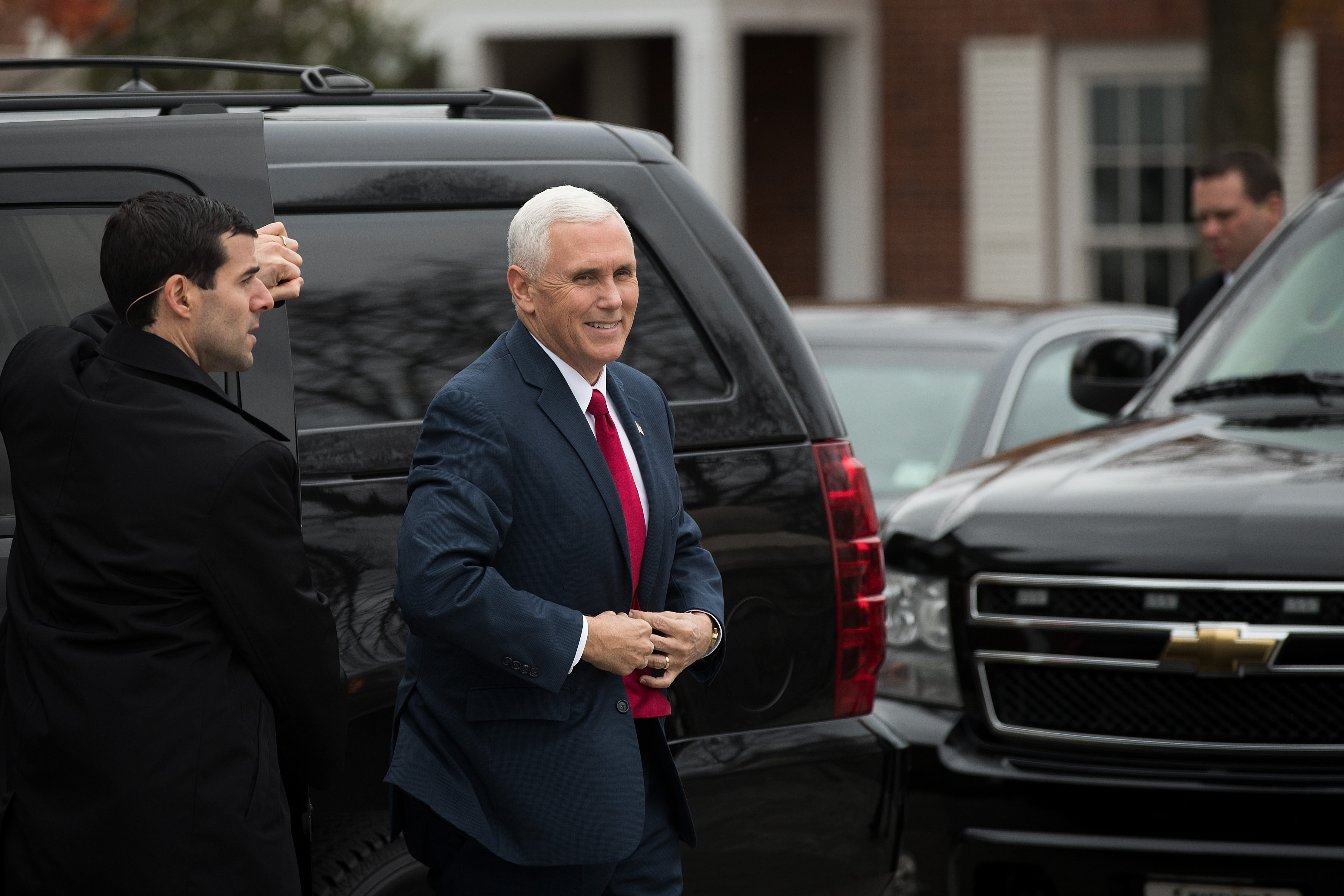 Vice President-elect Mike Pence arrives at the clubhouse at Trump International Golf Club in Bedminster Township, N.J.