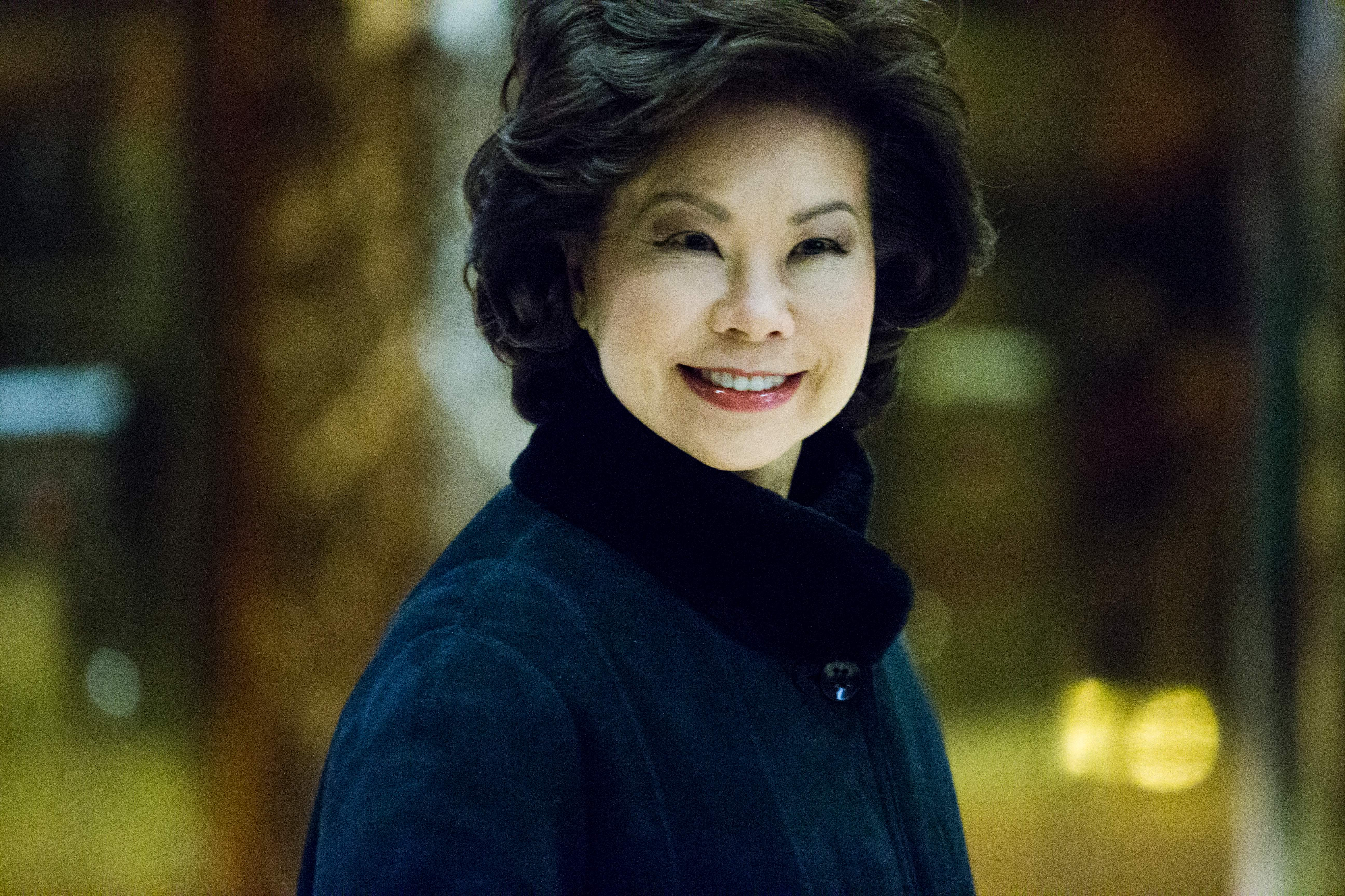 Former US Secretary of Labor Elaine Chao arrives at Trump Tower on November 21, 2016 in New York.