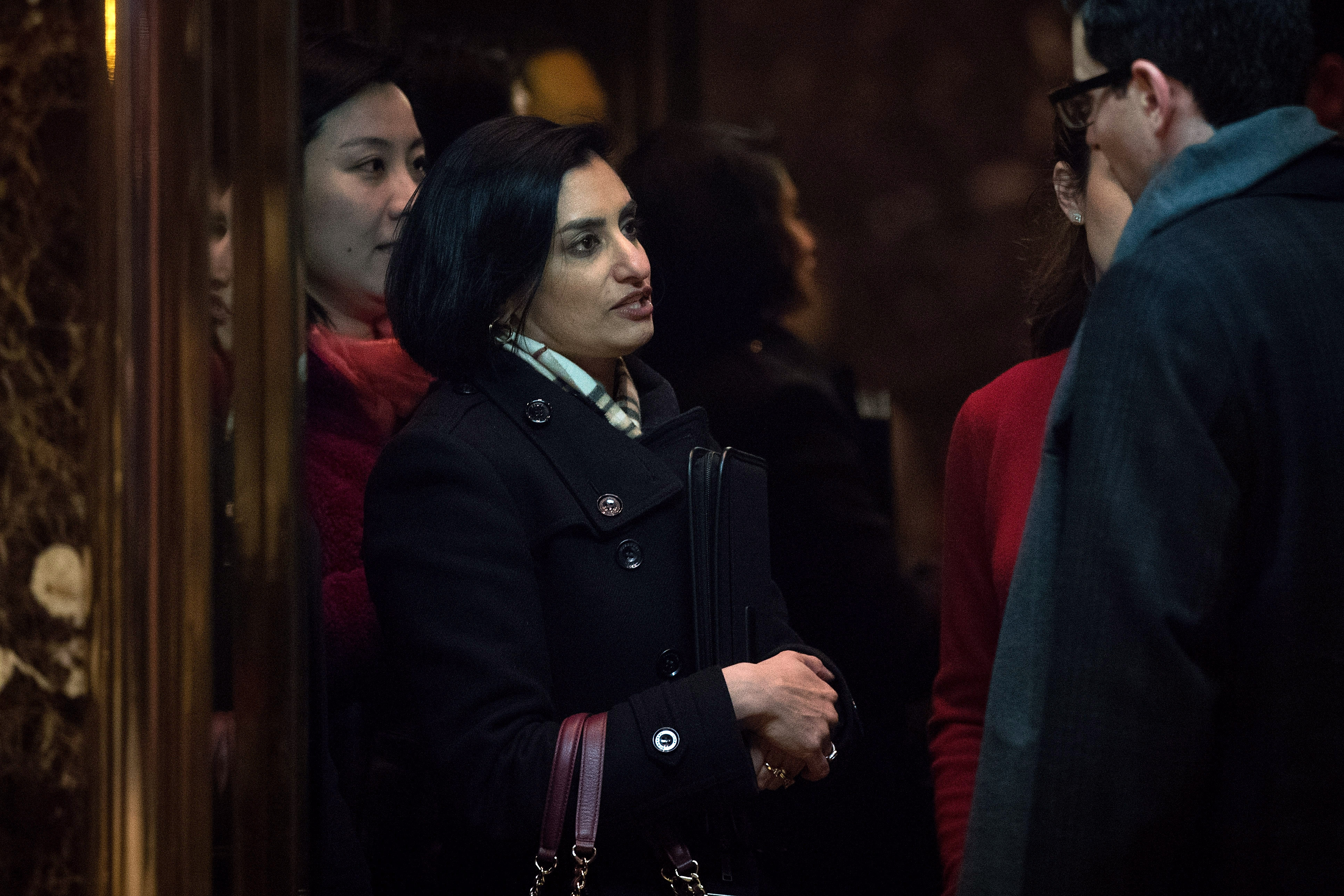 Seema Verma, president and founder of SVC Inc., gets into an elevator as she arrives at Trump Tower in New York City.
