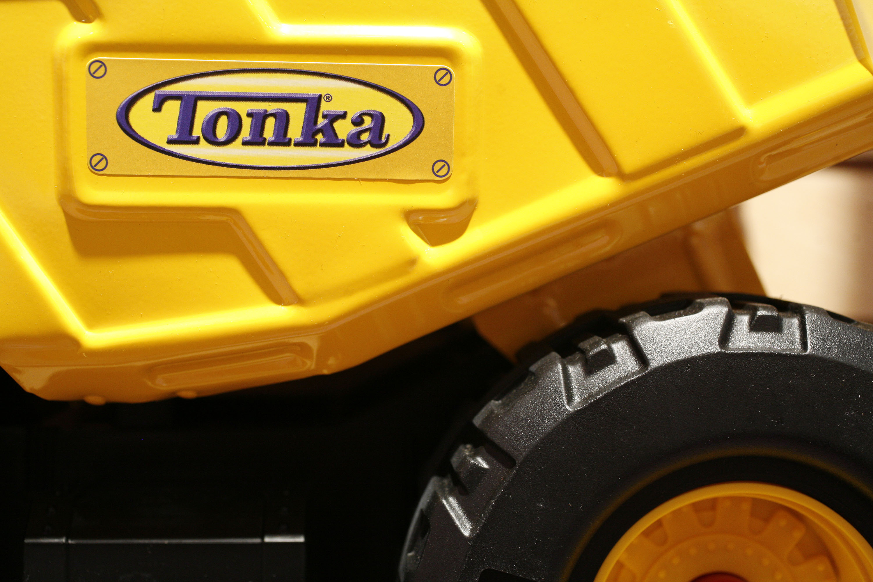 A Tonka truck sits on display in the Hasbro showroom during the International Toy Fair in New York.