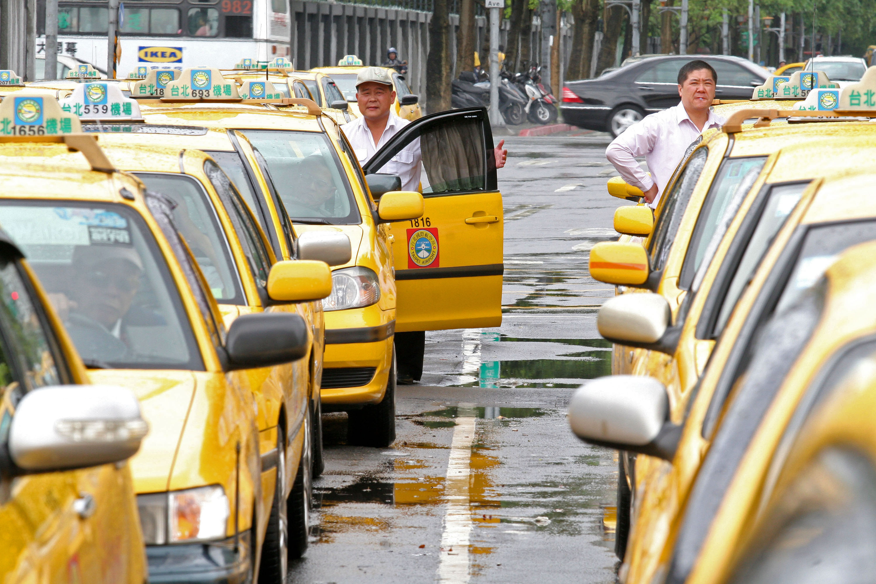 Taxis line up and wait for passengers in Taipei, Taiwan, May