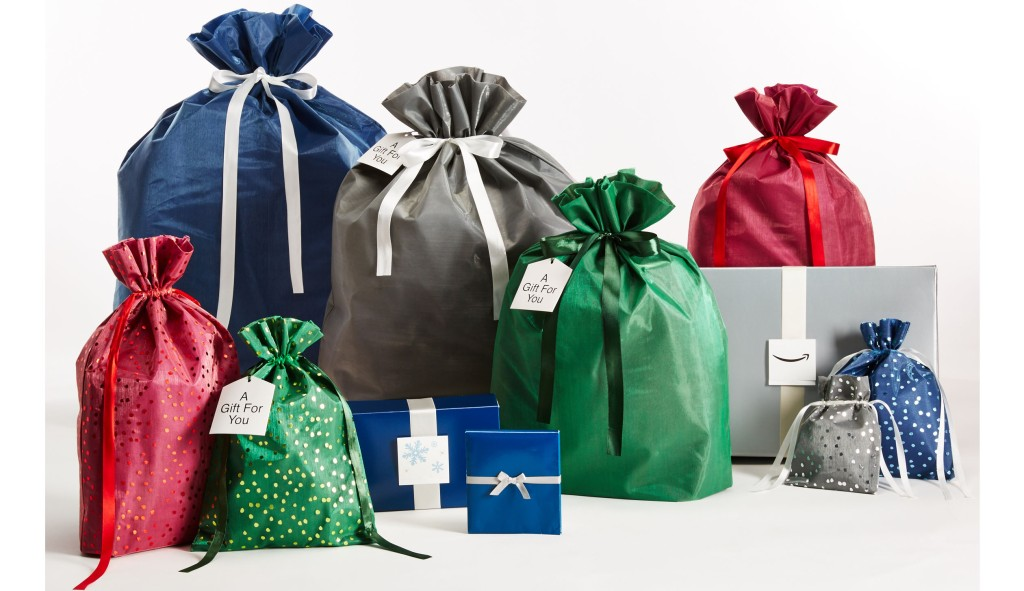 Amazon's velvet gift bags come in five sizes and three colors to fit presents of different shapes and sizes, offering a more environmentally-conscious option to traditional gift wrap.