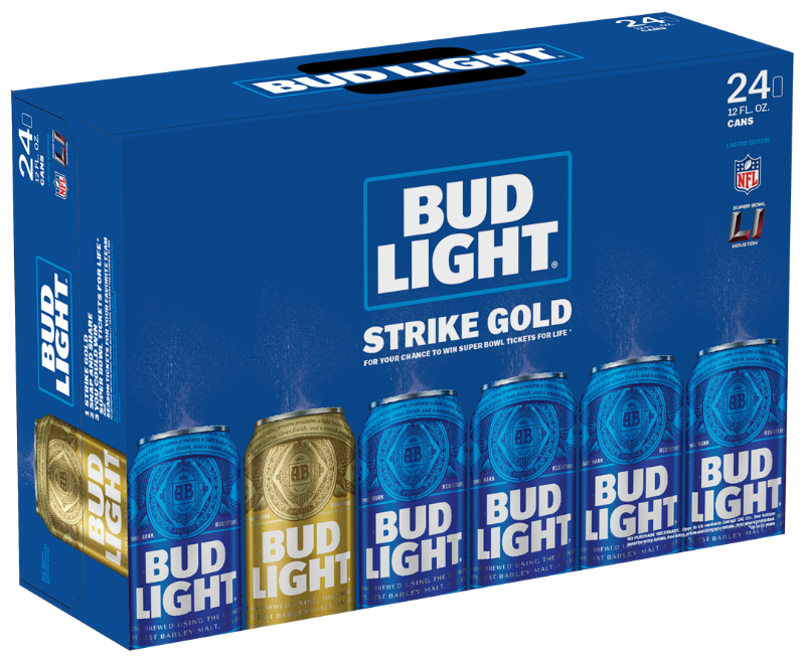"Bud Light's specialty ""Strike Gold"" case."