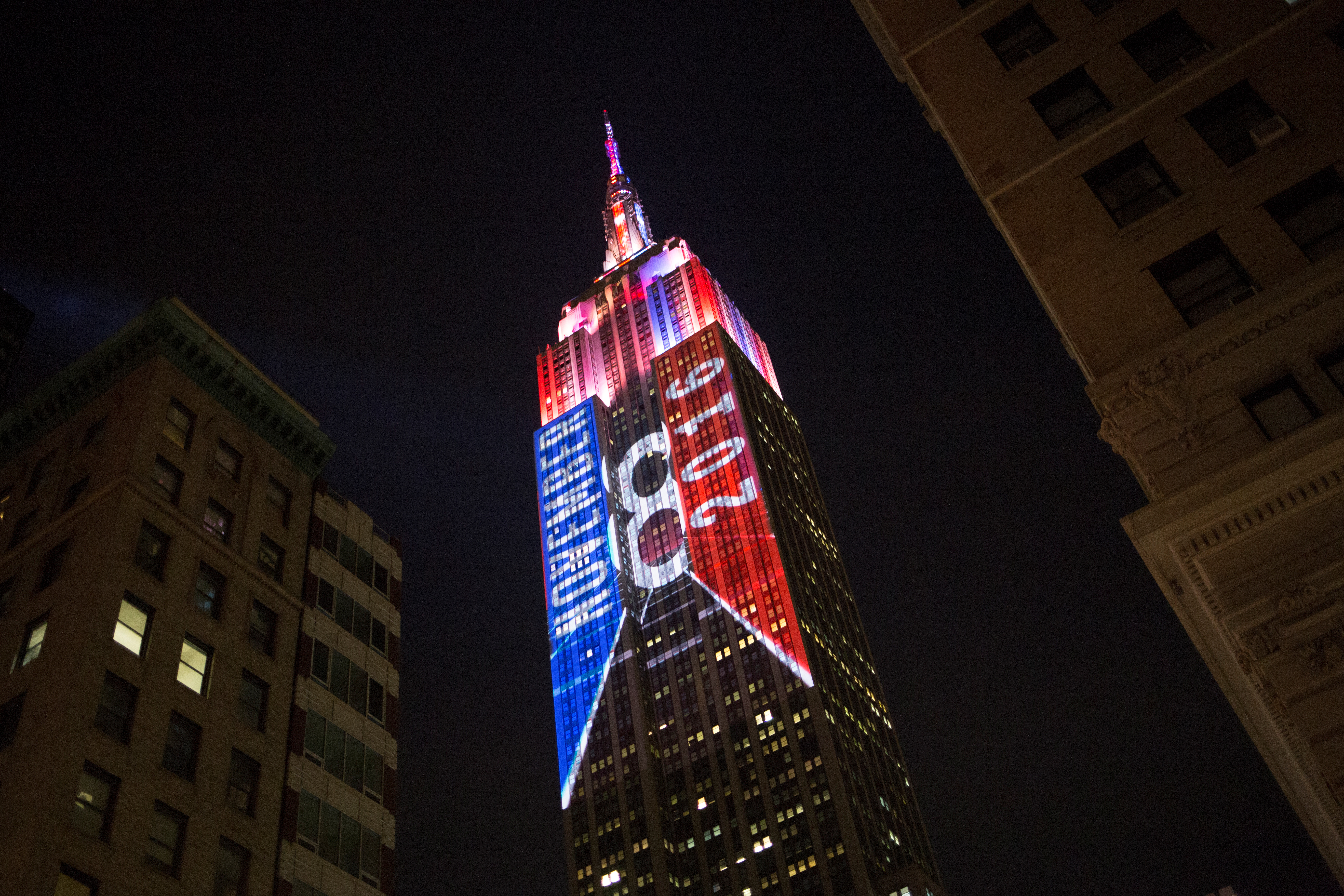The Empire State building displays a 2016 U.S. Presidential election themed light show in New York