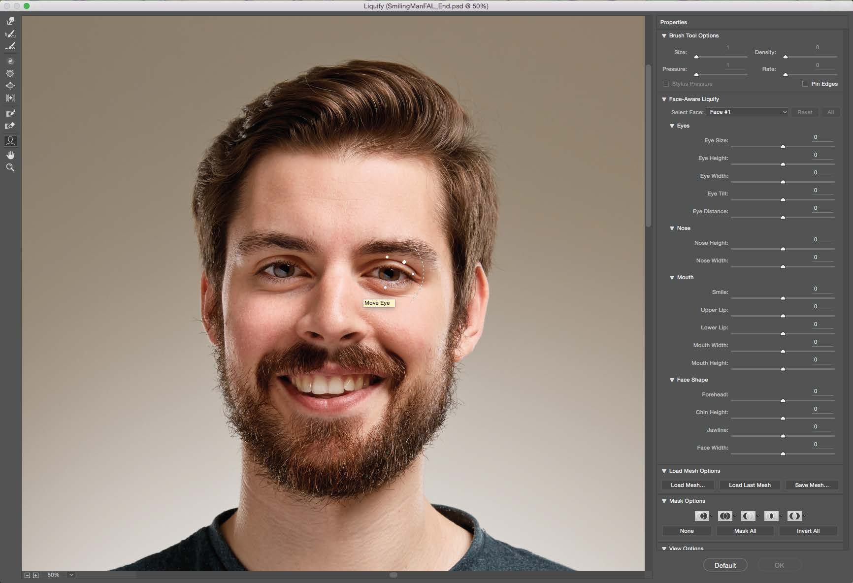 Adobe Facial Aware Liquify eases editing of facial features.