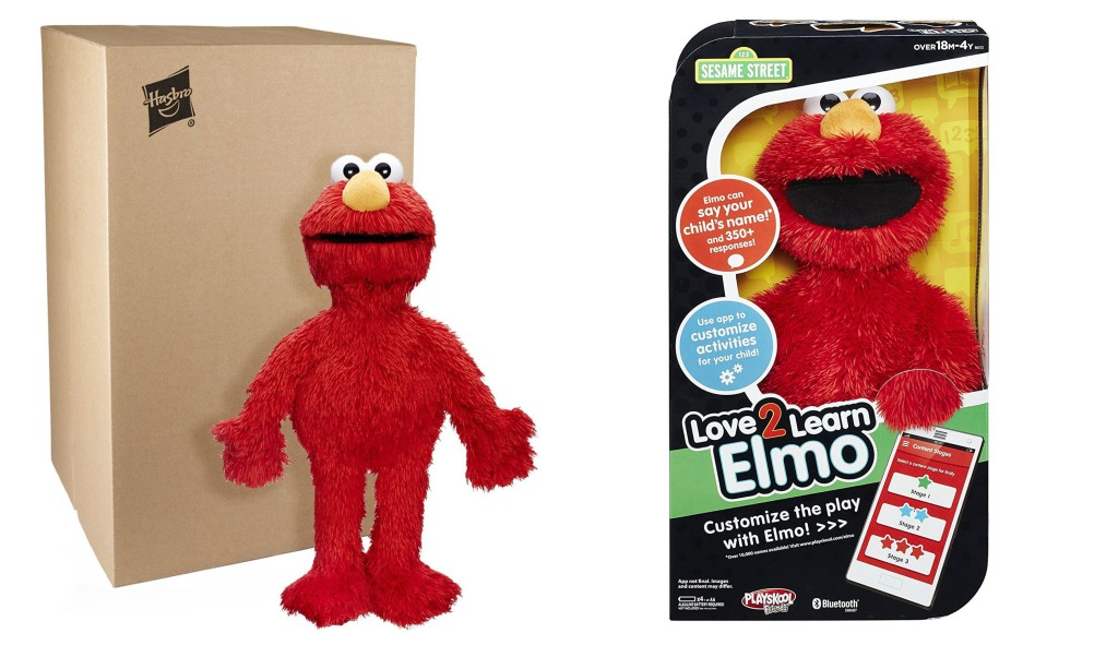 "An example of Amazon's Frustration-Free Packaging. ""The Love 2 Learn Elmo"" doll, on left, uses recyclable cardboard—avoiding excess materials—and can be opened by hand without tools. The standard packaging, on right, uses more material and can be more difficult to open."