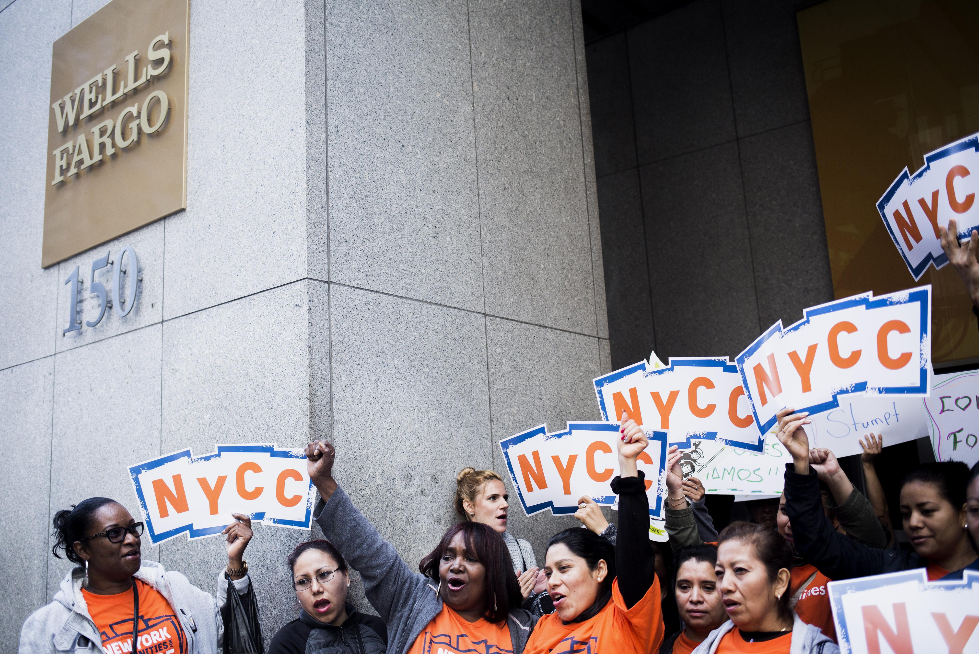 Protest Against Wells Fargo & Co. As Senators Urge DOJ To Focus On Executives In Probe