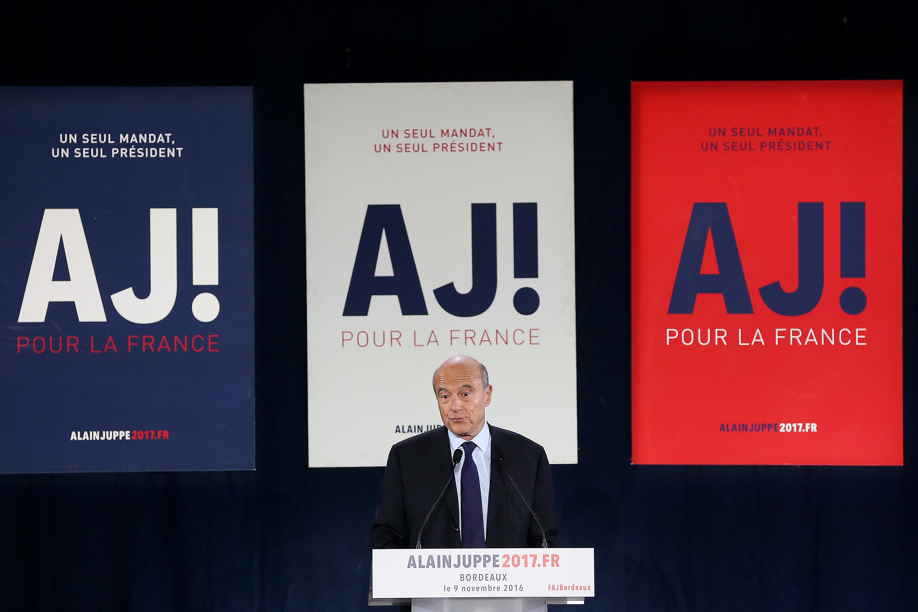 Les Republicains' Party Member and Mayor of Bordeaux Alain Juppe Attends a Meeting In Bordeaux