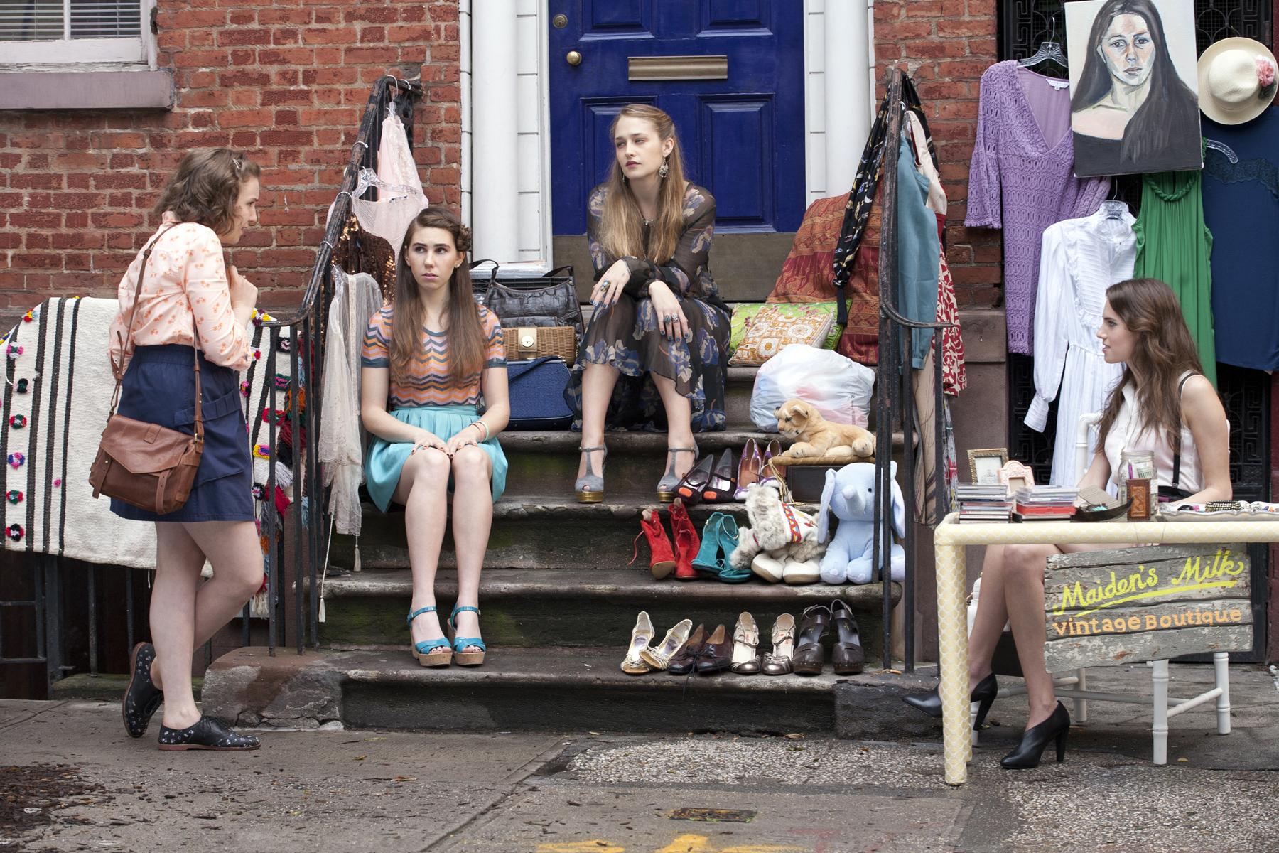 Zosia Mamet, Lena Dunham, Jemima Kirke, and Allison Williams in Girls (2012).