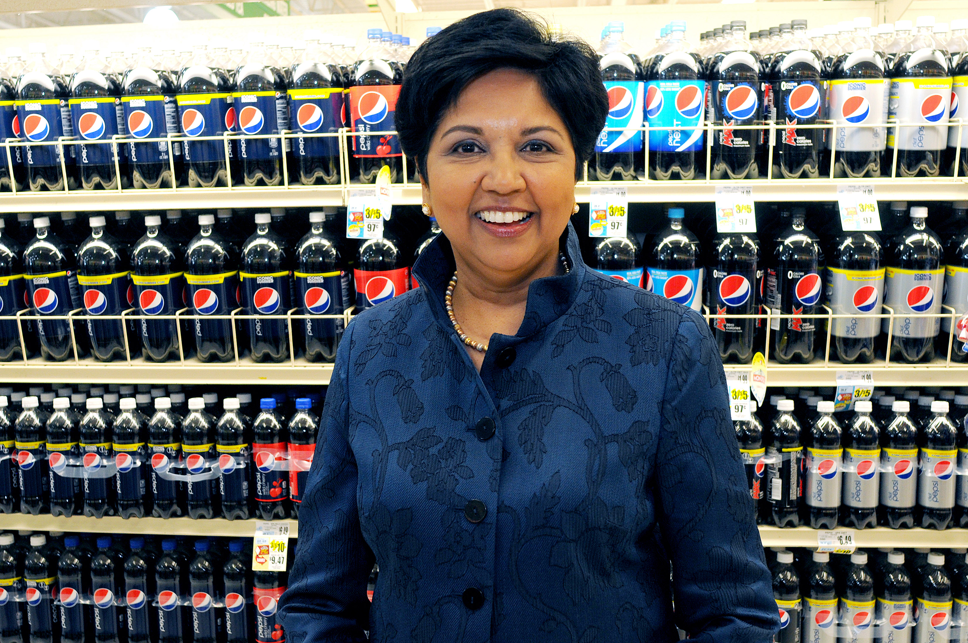 PepsiCo CEO Indra Nooyi poses for a portrait by products at the Tops SuperMarket in Batavia