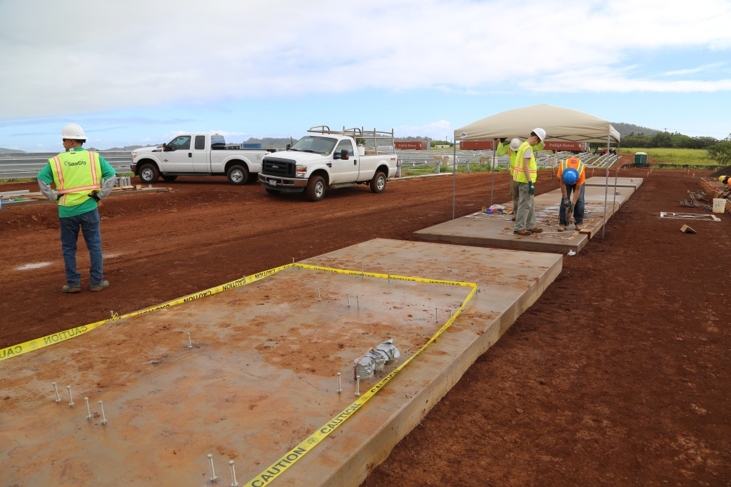 The concrete pads where Tesla's Powerwall batteries will soon be installed on the island of Kauai.