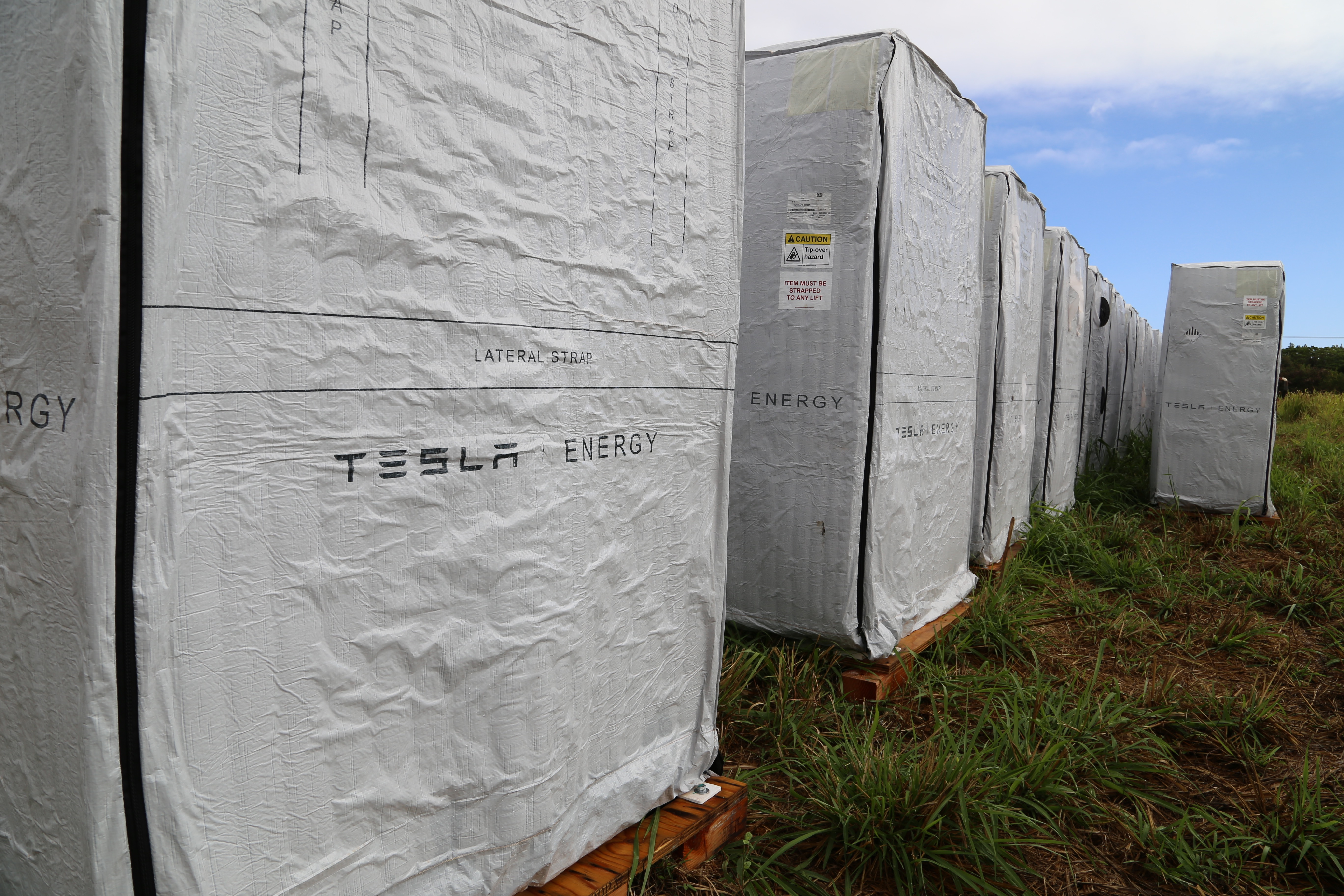 Tesla Powerwalls on the island of Kauai installed by SolarCity for local utility Kauai Island Utility Cooperative.