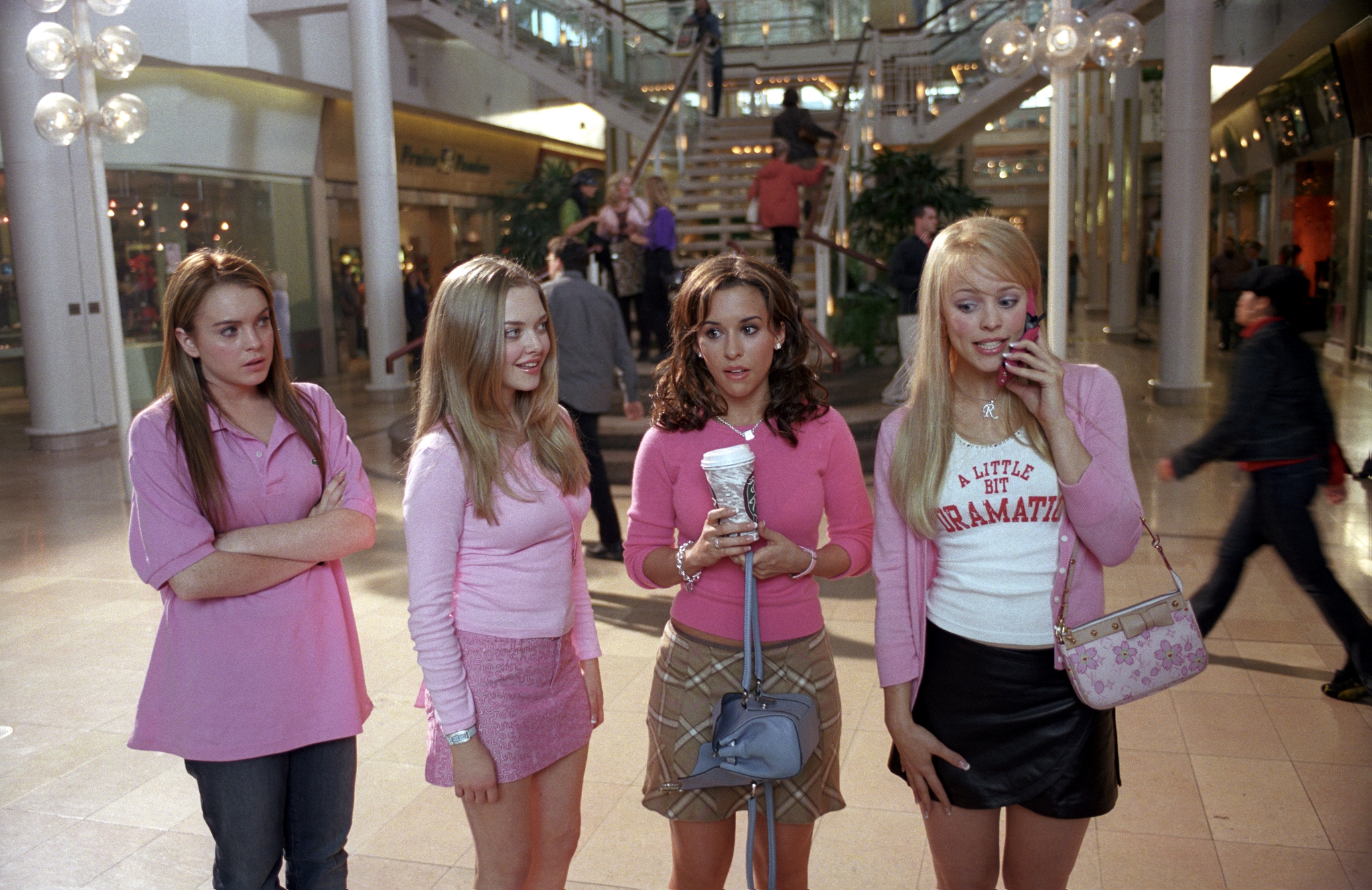 """From left to right actors Lindsay Lohan, Amanda Seyfried, Lacey Chabert, and Rachel McAdams in the hit 2004 movie """"Mean Girls."""""""