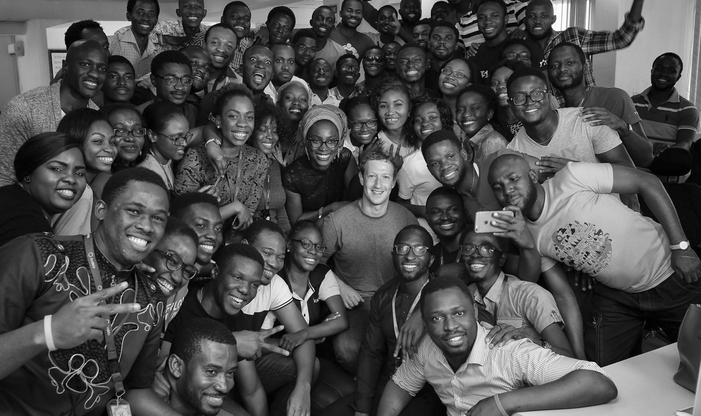 Facebook CEO Mark Zuckerberg poses for a photo with engineers at a startup called Andela in Lagos, Nigeria, in September.