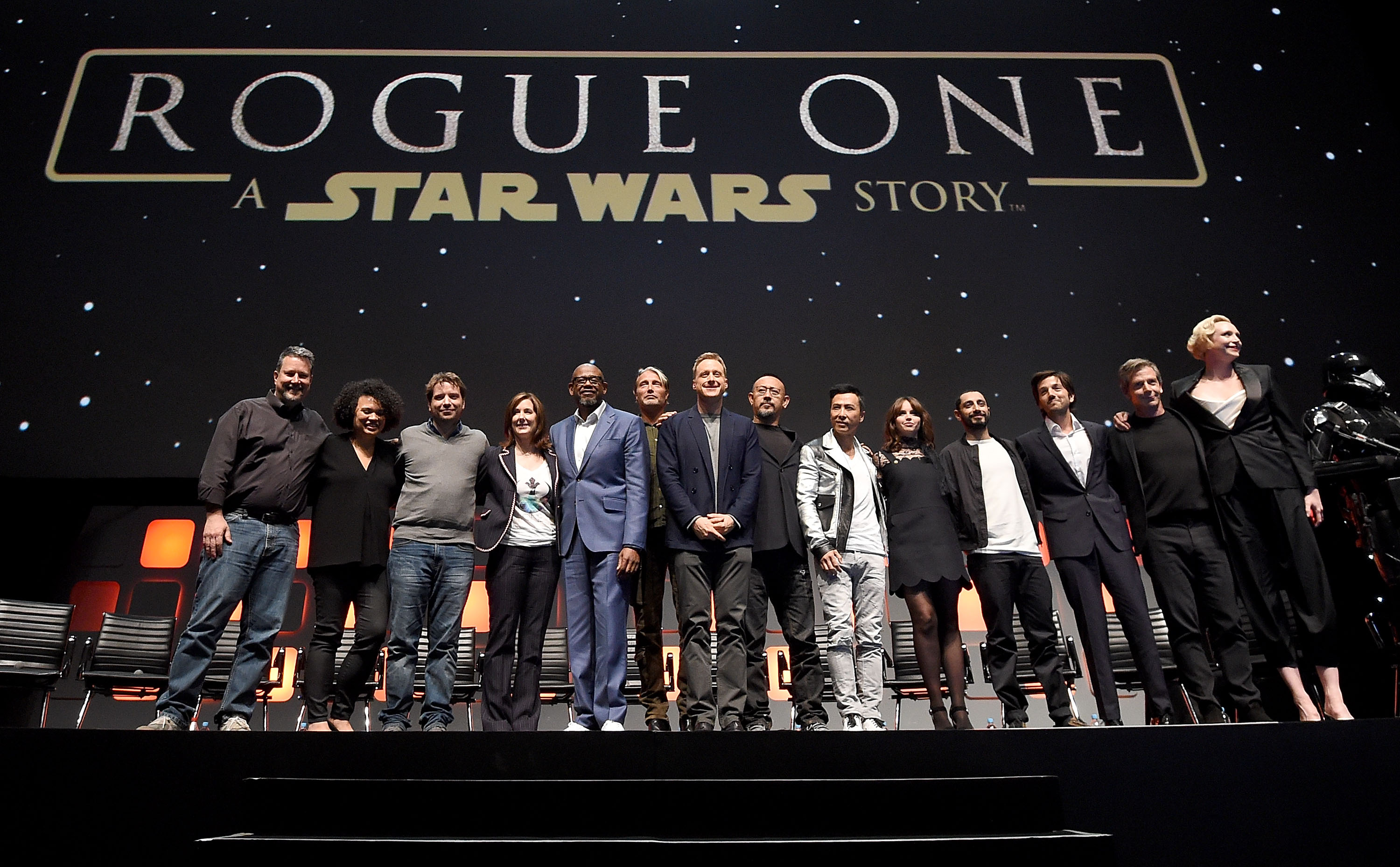 Stars stand on stage during the Rogue One Panel at the Star Wars Celebration 2016 at ExCel on July 15, 2016 in London, England.