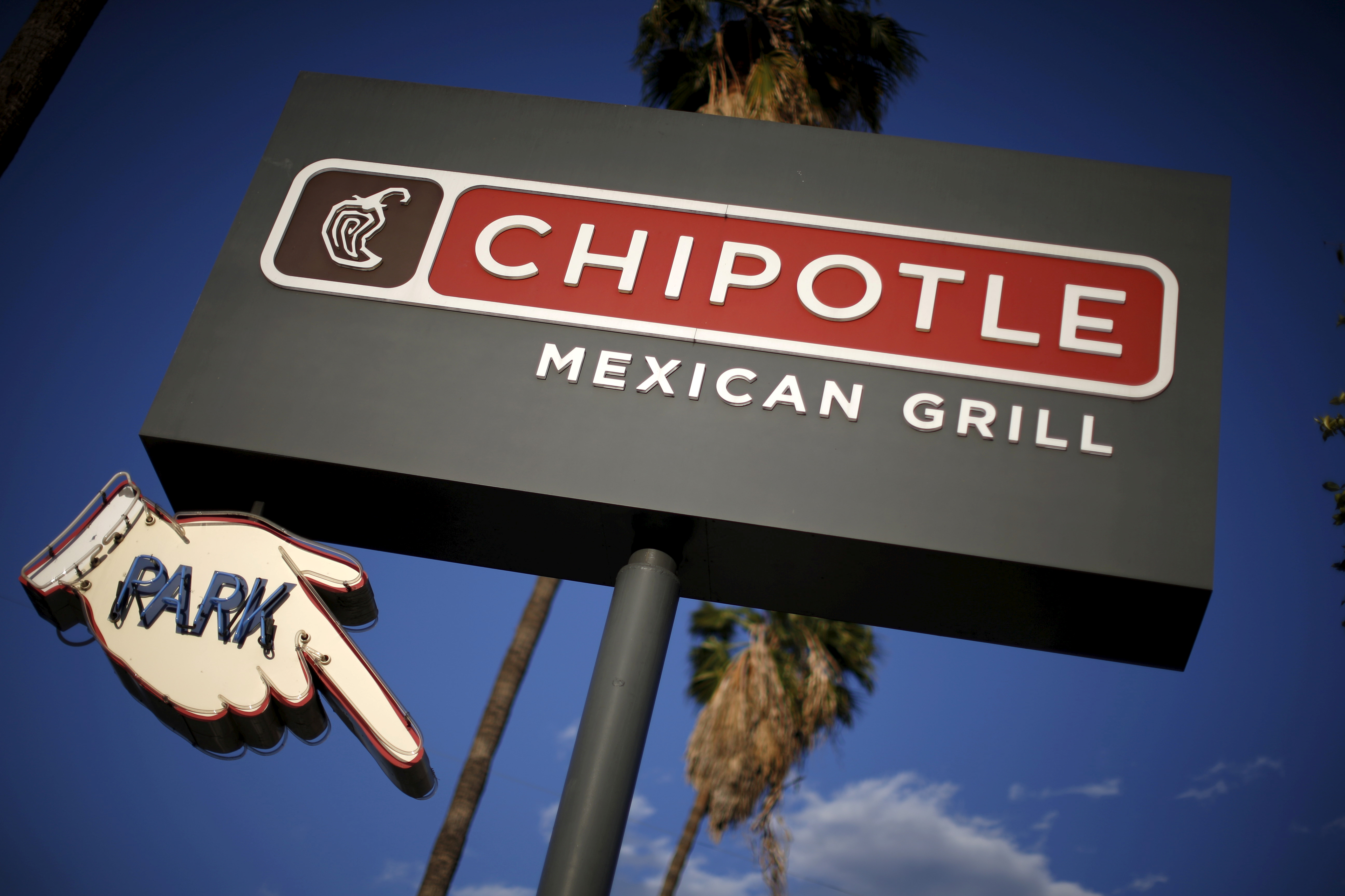Signage for a Chipotle Mexican Grill is seen in Los Angeles