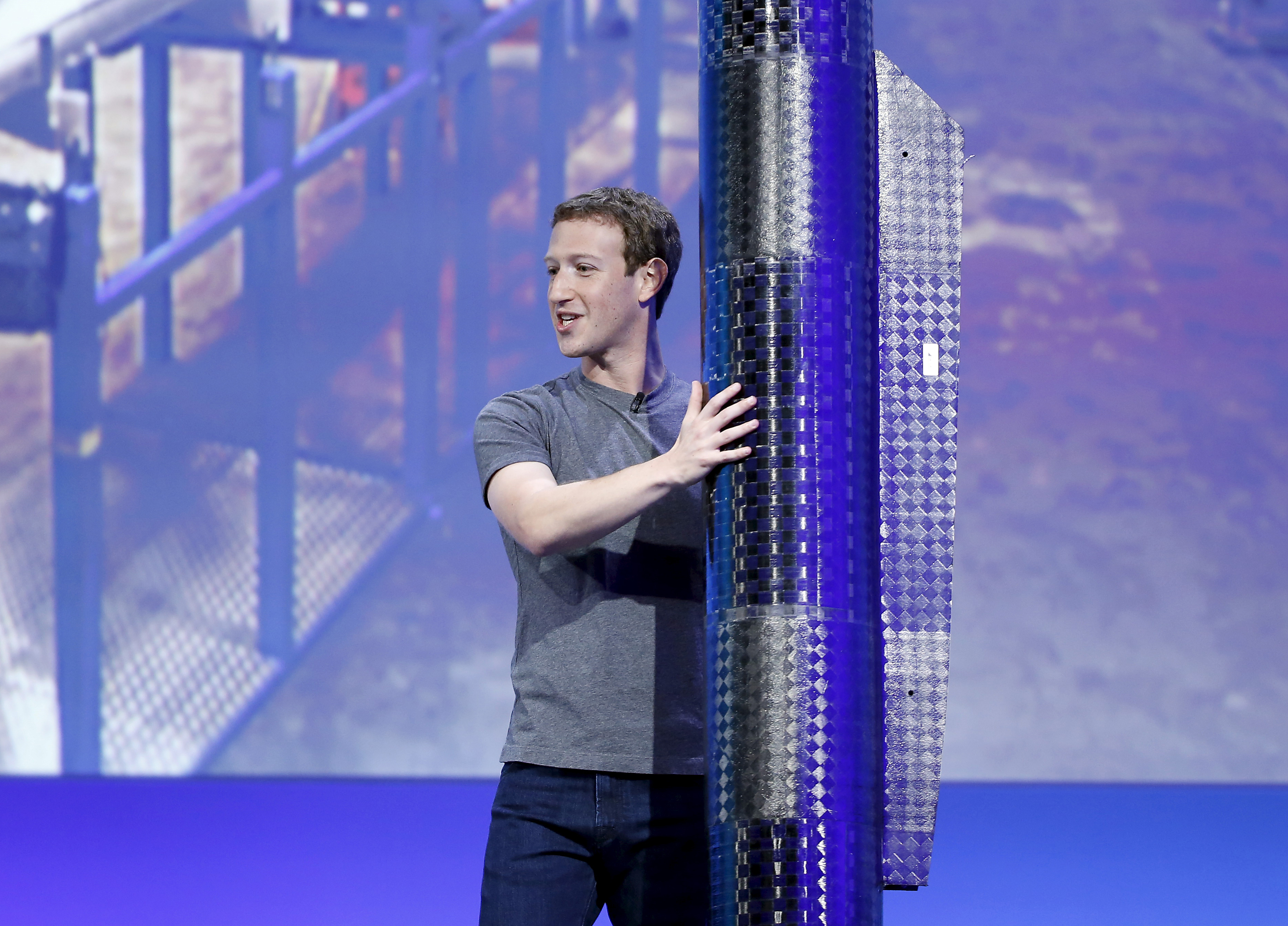 File photo of Facebook CEO Mark Zuckerberg holding  a propeller pod of the solar-powered Aquila drone during the Facebook F8 conference in San Francisco, California