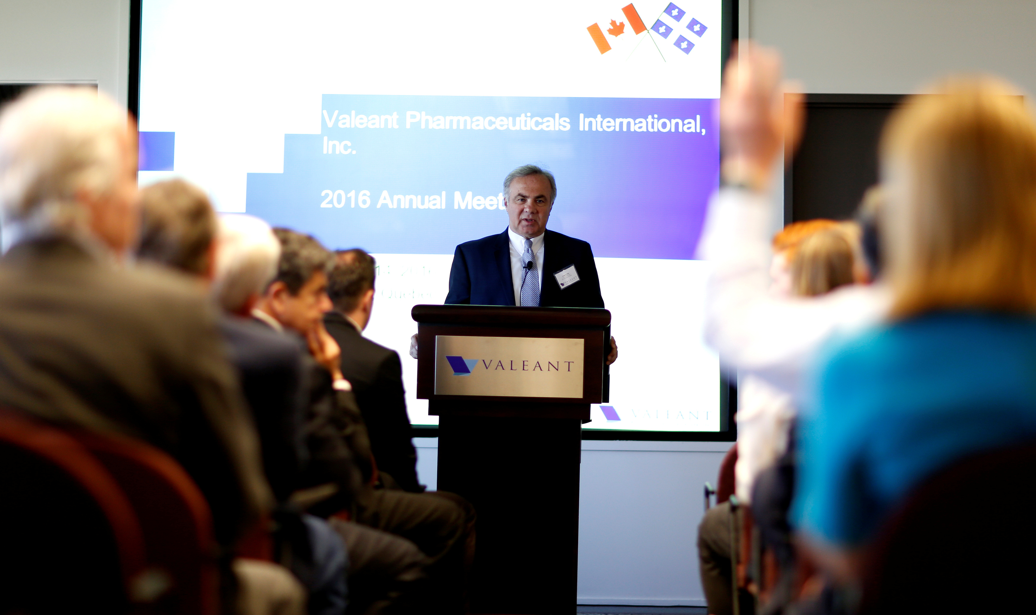 Valeant Pharmaceuticals International Inc's new chief executive Joseph Papa answers questions from shareholders during their annual general meeting in Laval