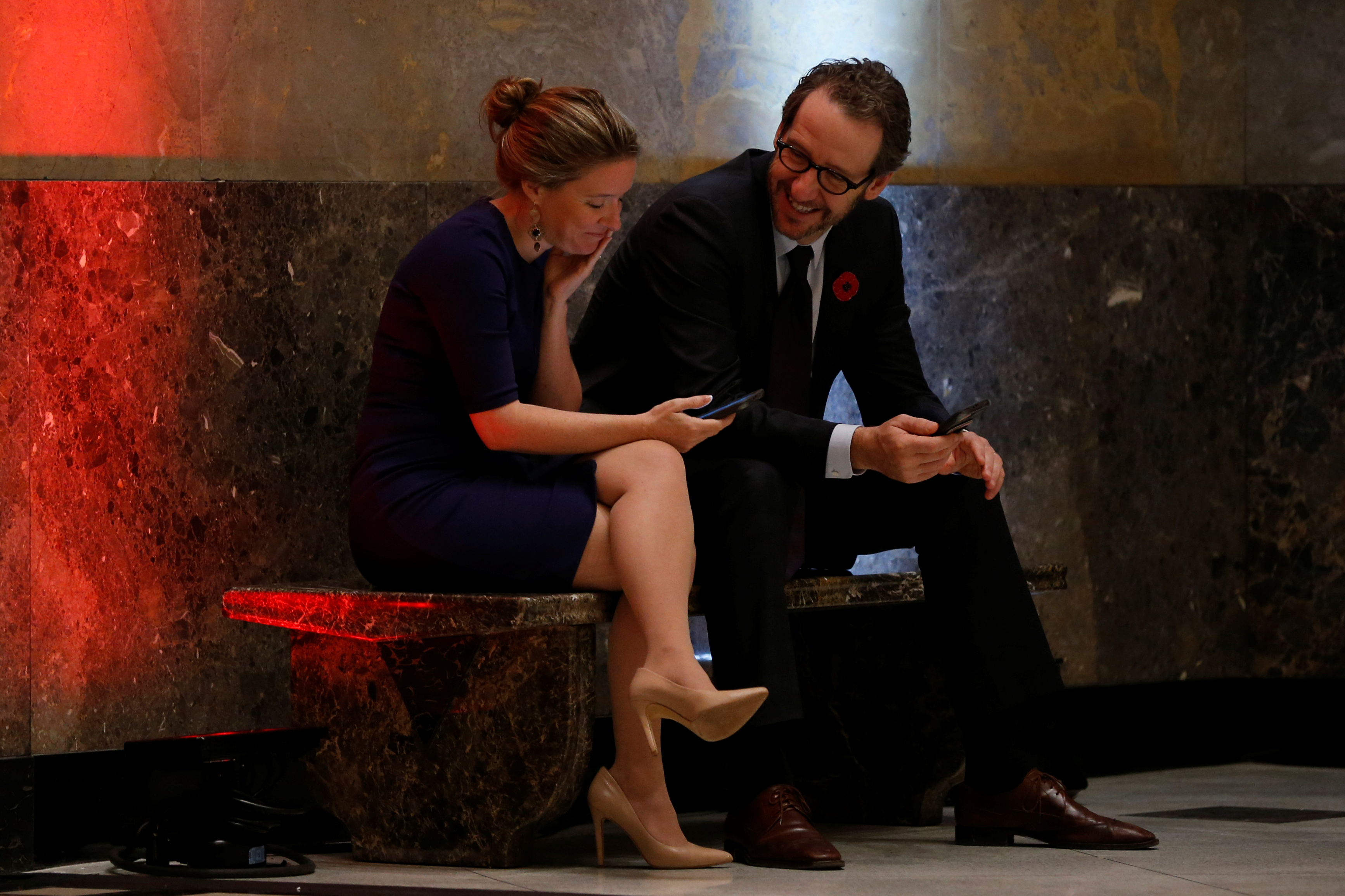 Canadian Prime Minister Justin Trudeau's chief of staff Katie Telford and principal secretary Gerald Butts attend a town hall with high school students in Ottawa