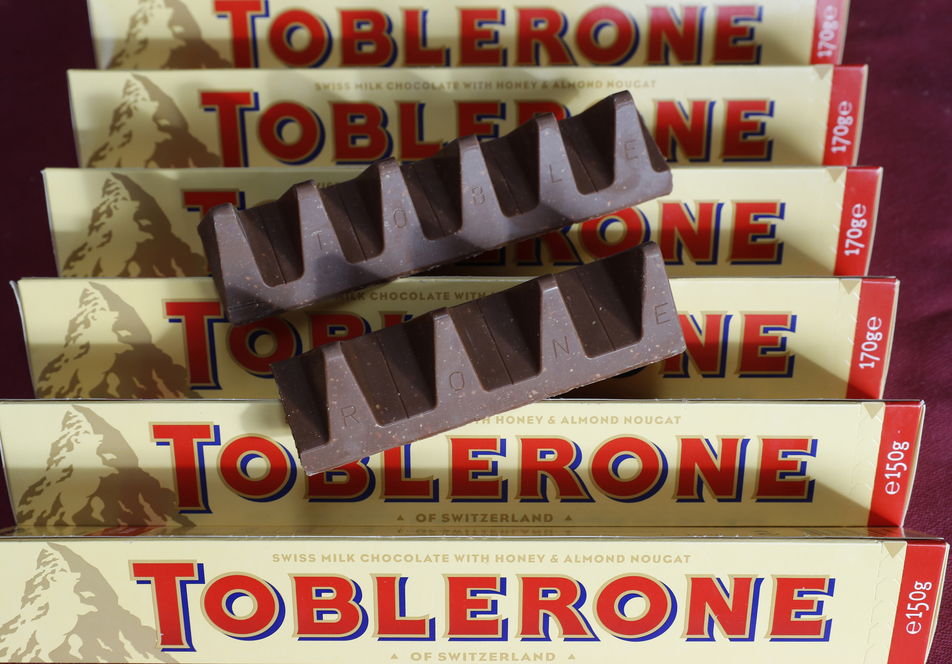 150g and 170g bars of Toblerone chocolate are illustrated in Loughborough
