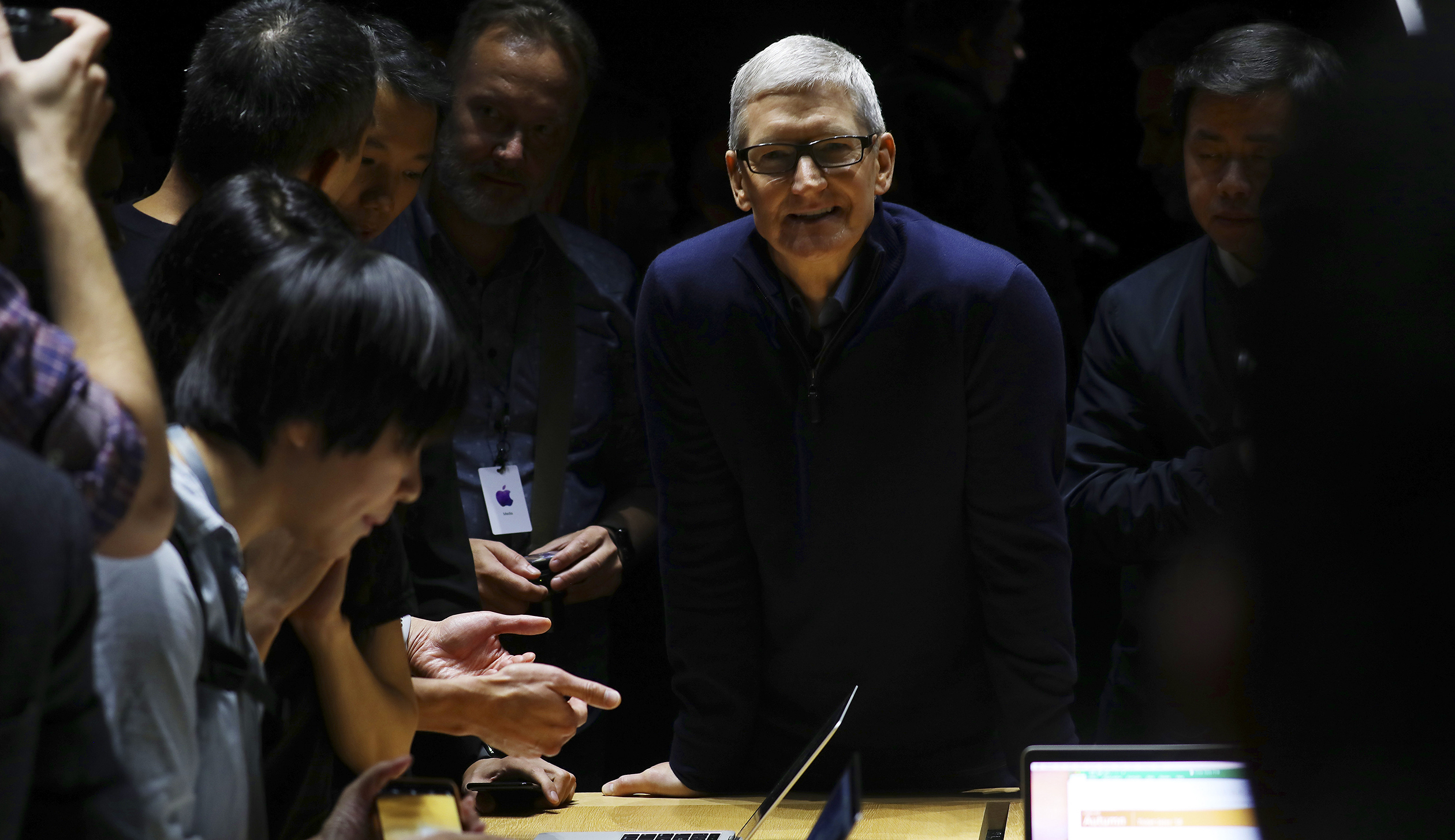 Tim Cook, the chief executive of Apple, in a demonstration area during the unveiling of the new MacBook Pro at Apple headquarters in Cupertino, Calif.