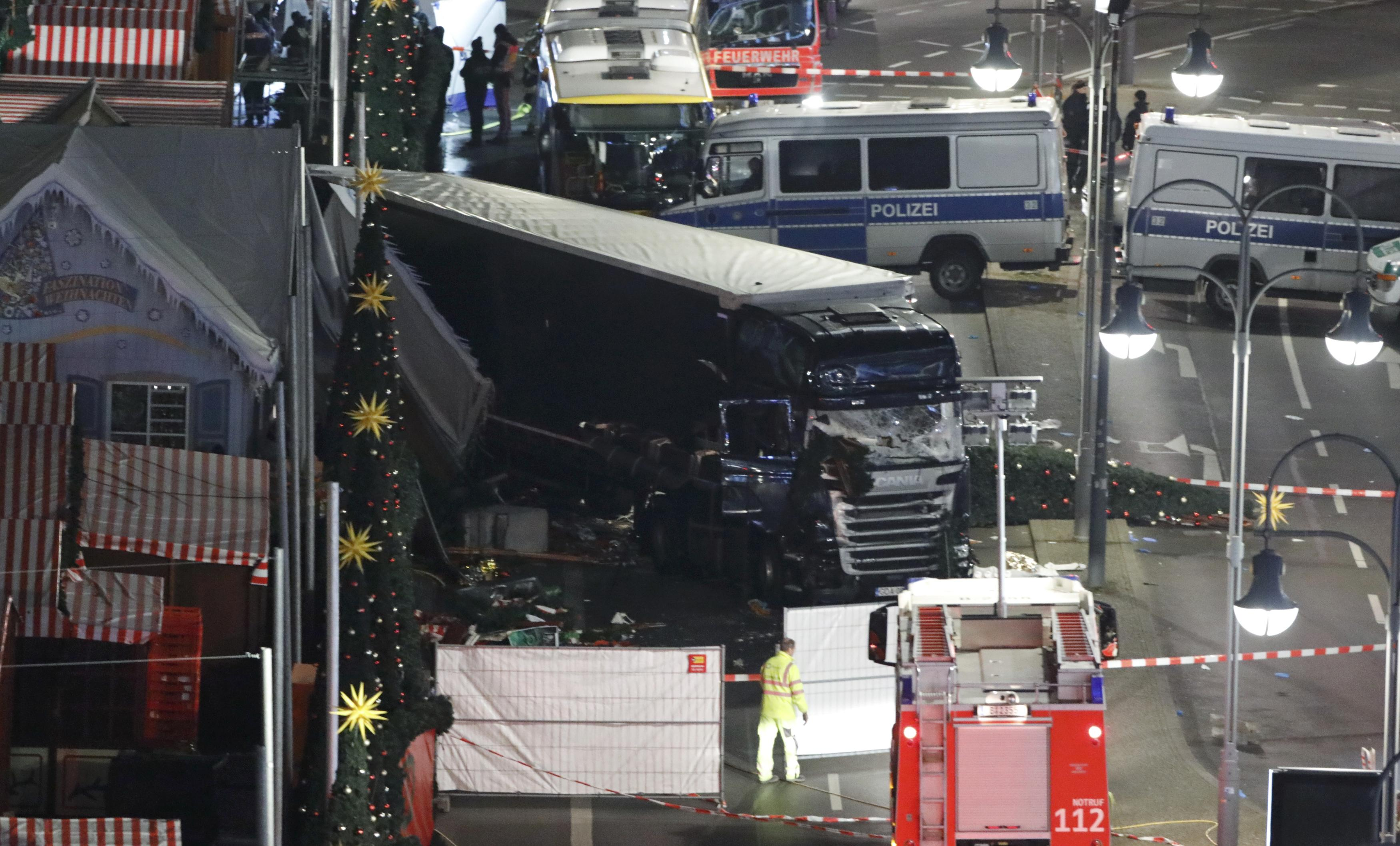 A general view shows the site where a truck ploughed through a Berlin Christmas market
