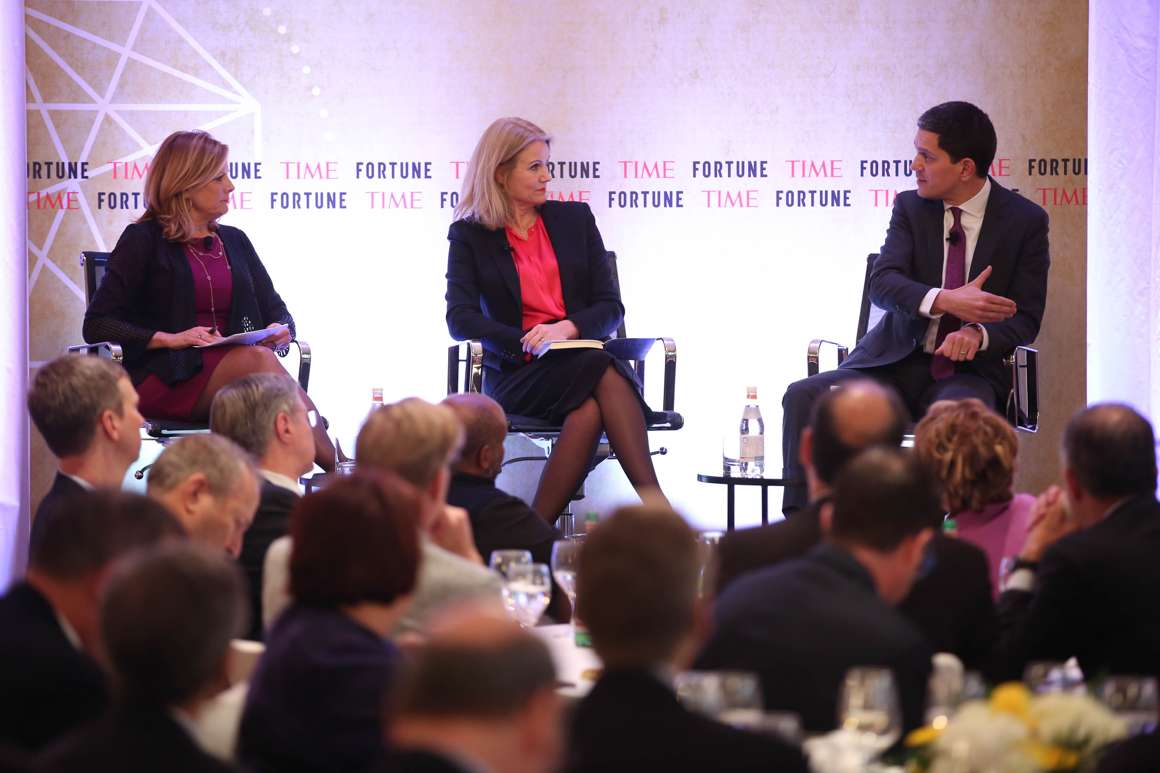 """Fortune's Nina Easton (left) with Save the Children International's Helle Thorning-Schmidt and International Rescue Committee's David Miliband. """"Our biggest problem in the humanitarian sector,"""" says Miliband, """"is not the answers we don't know. It's the programs that we know work but don't get taken to scale because the donor base is so fragmented."""""""
