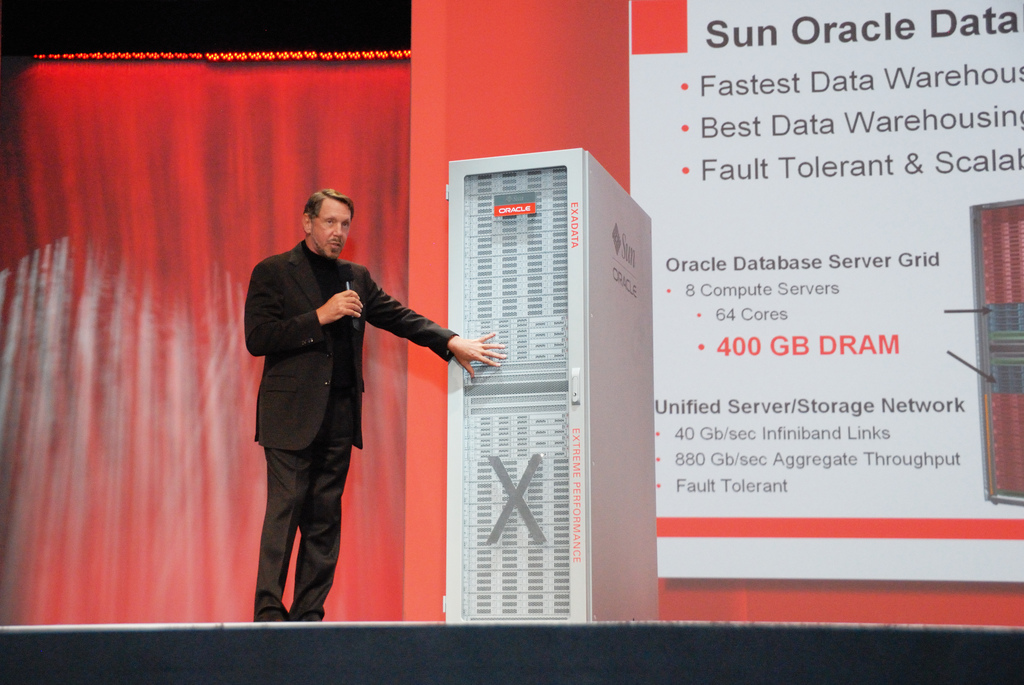 Oracle co-founder Larry Ellison shows off new hardware.