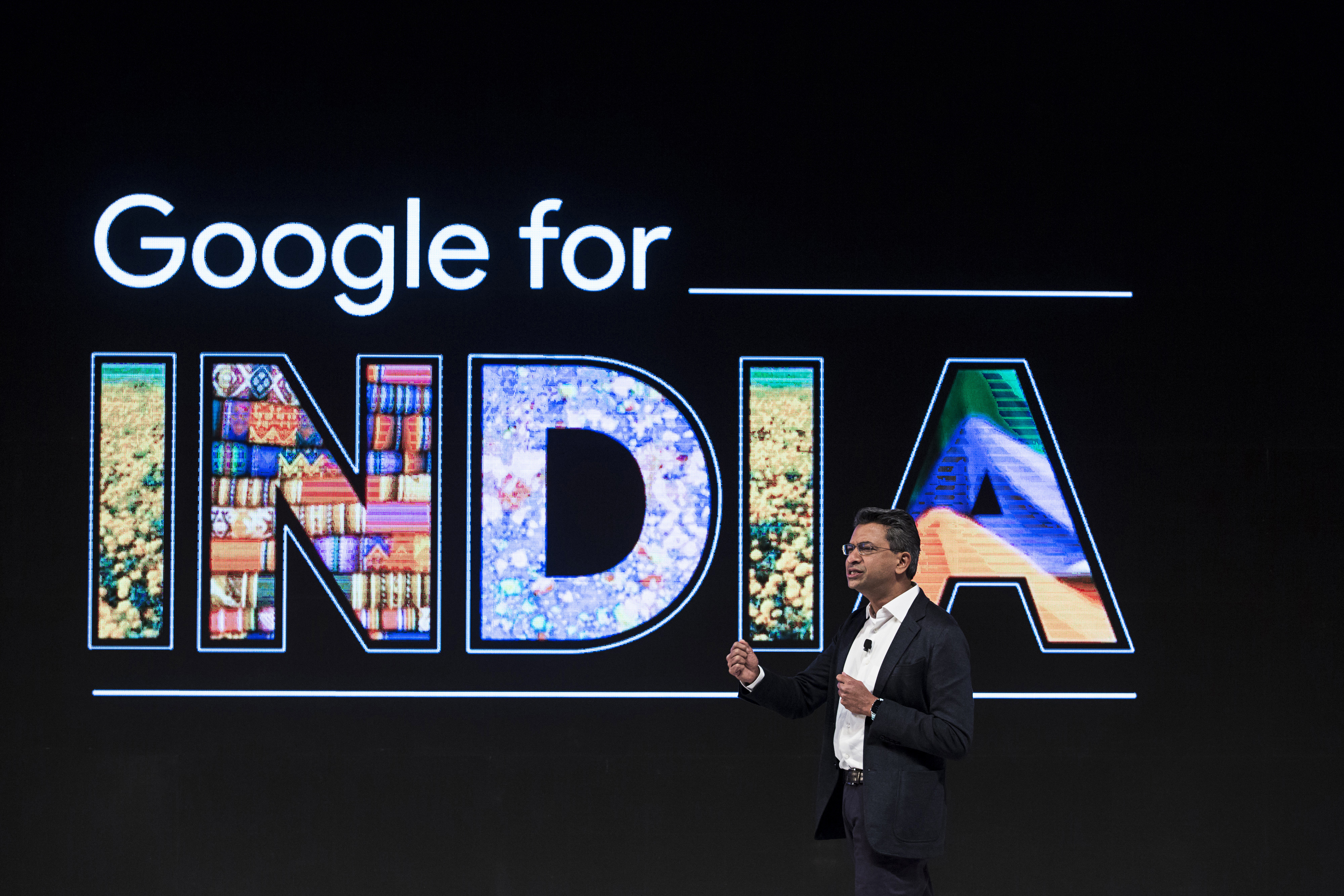 Rajan Anandan, vice president and managing director of South East Asia and India at Google Inc., speaks during the 'Google for India' event in New Delhi, India.