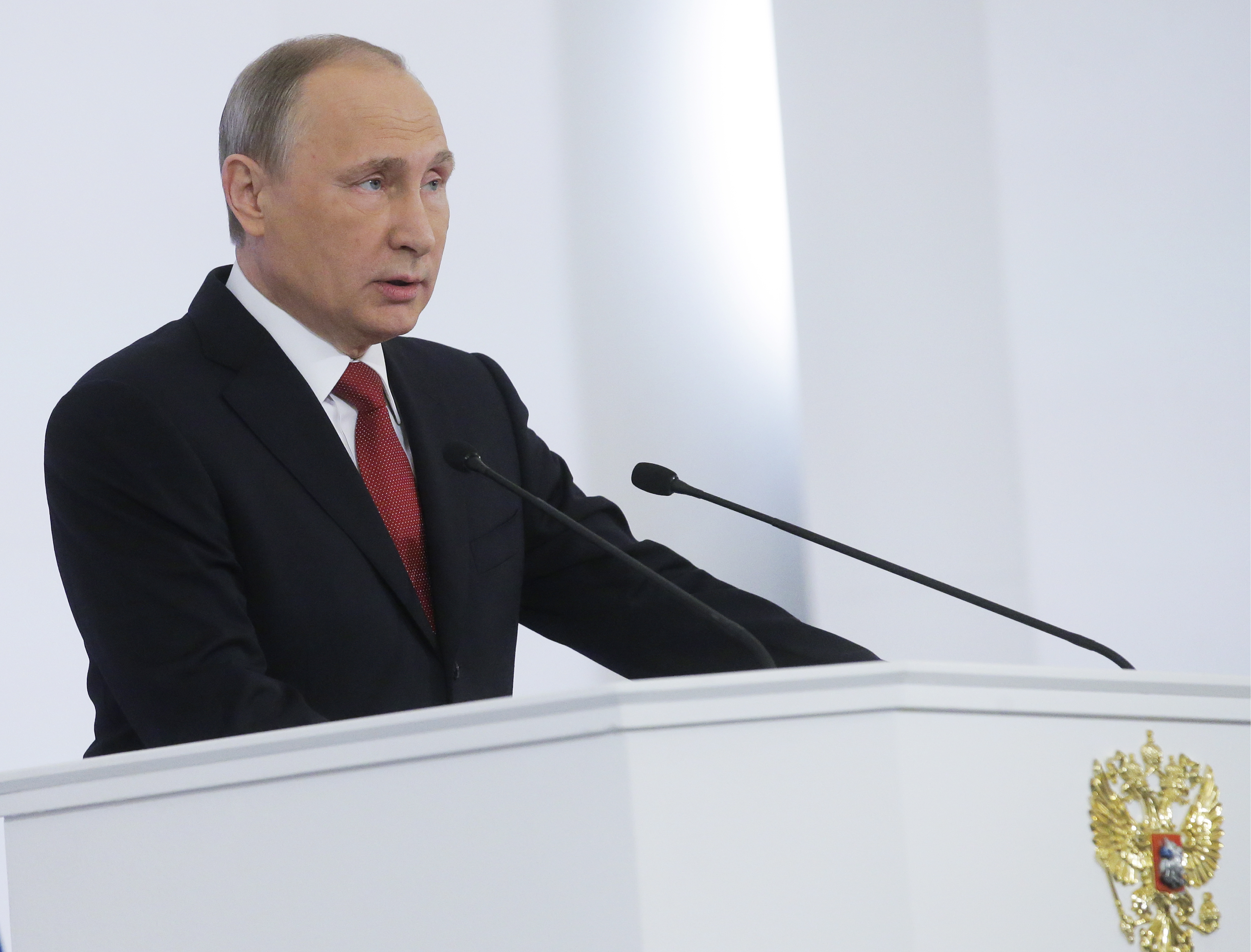 Russia's President Vladimir Putin delivers his annual address to the Russian Federal Assembly at the Moscow Kremlin.
