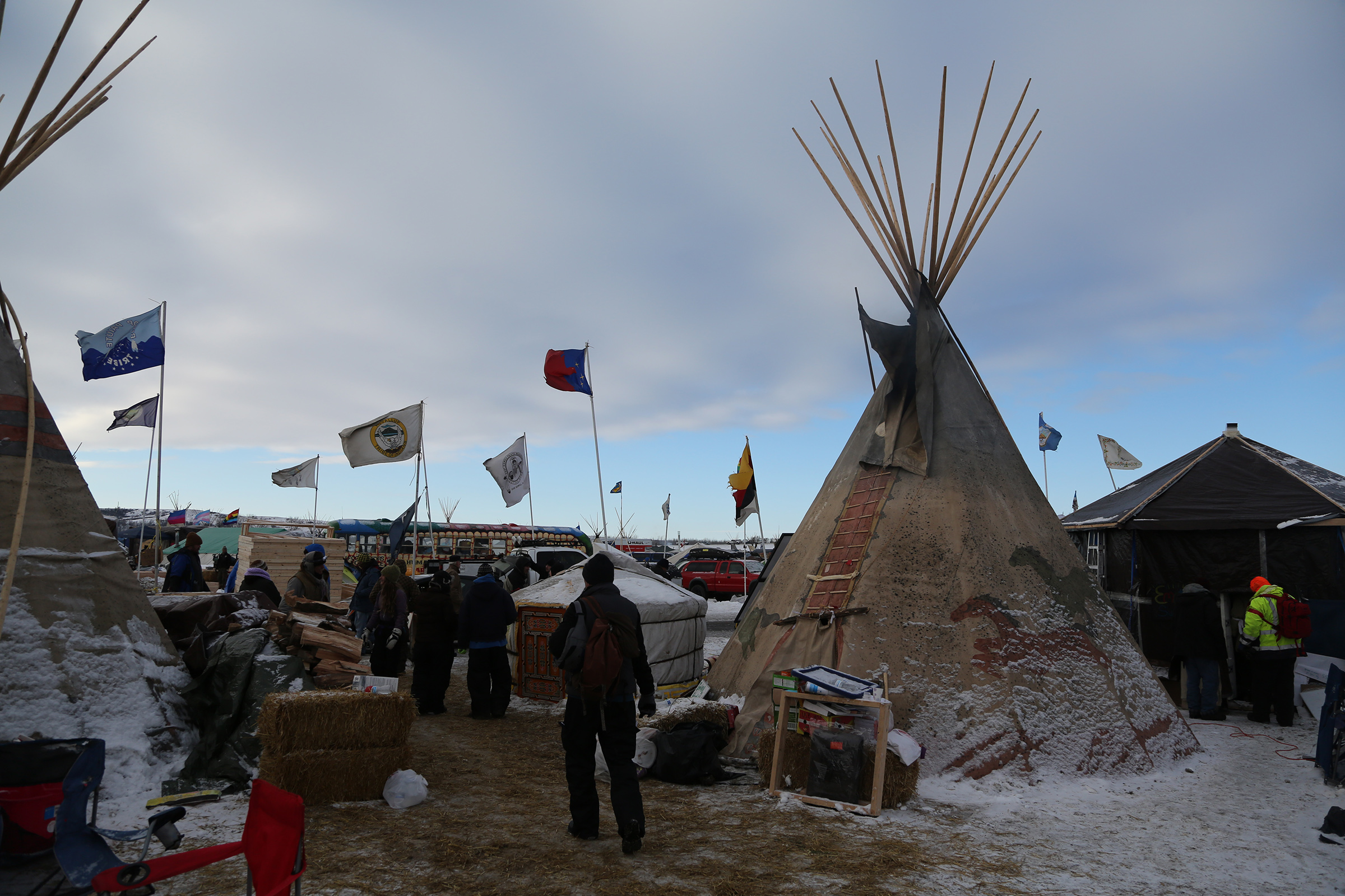 The Standing Rock camps during the protest of the Dakota Access Pipeline.