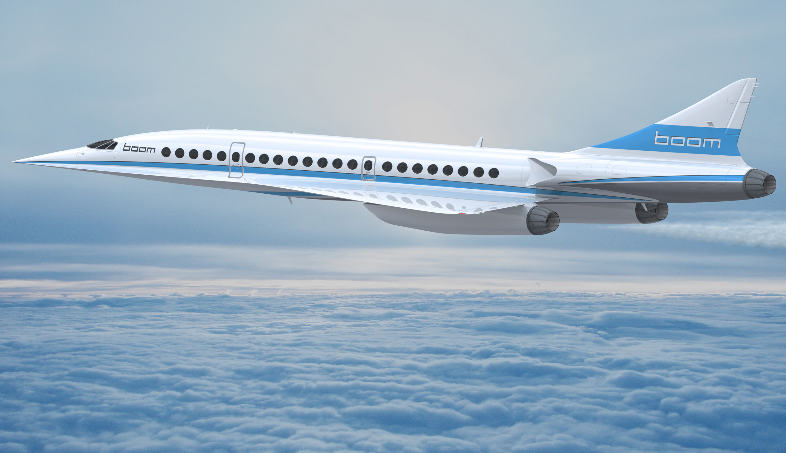 Boom Technology imagines an all-premium-class trijet seating 40-50 passengers paying the same per-seat ticket cost as they might shell out for conventional business class travel. With a cruising speed of Mach 2.2, Boom's airliner could reduce the flight time between New York City and London to just three hours and 15 minutes.