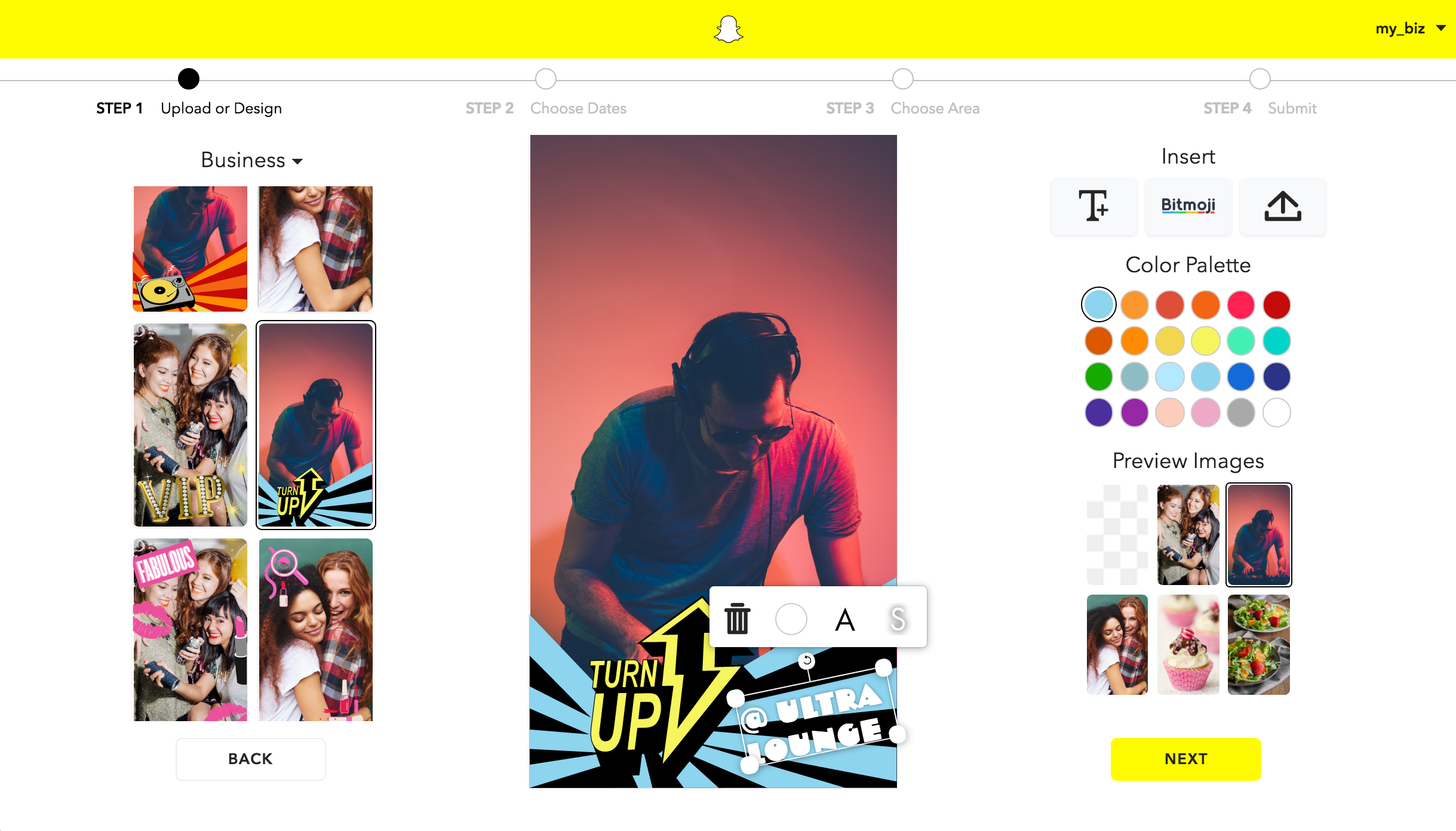 Snapchat's templates for business geofilters.