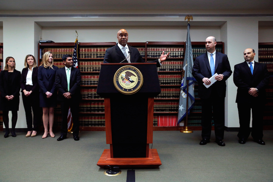 U.S. Attorney for the Eastern District of New York Capers speaks to media regarding the indictment charging Mark Nordlicht, the Founder and Chief Investment Officer of Platinum Partners and six other individuals with fraud, in New York City