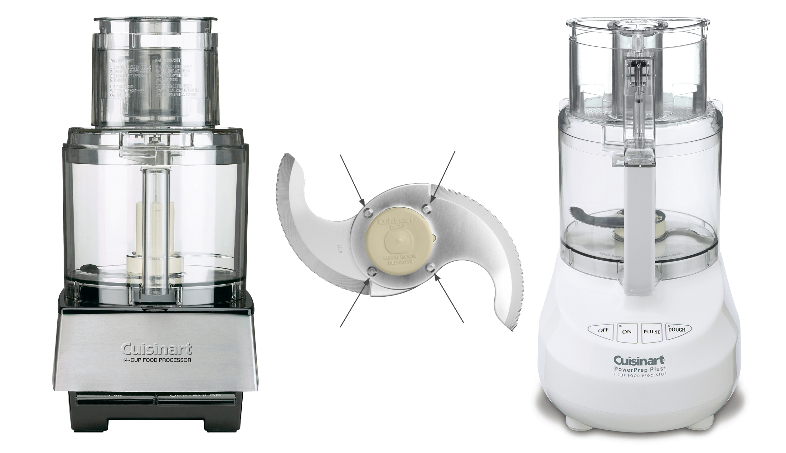 The riveted blade that has injured some consumers, pictured beside the Cuisinart models in question.