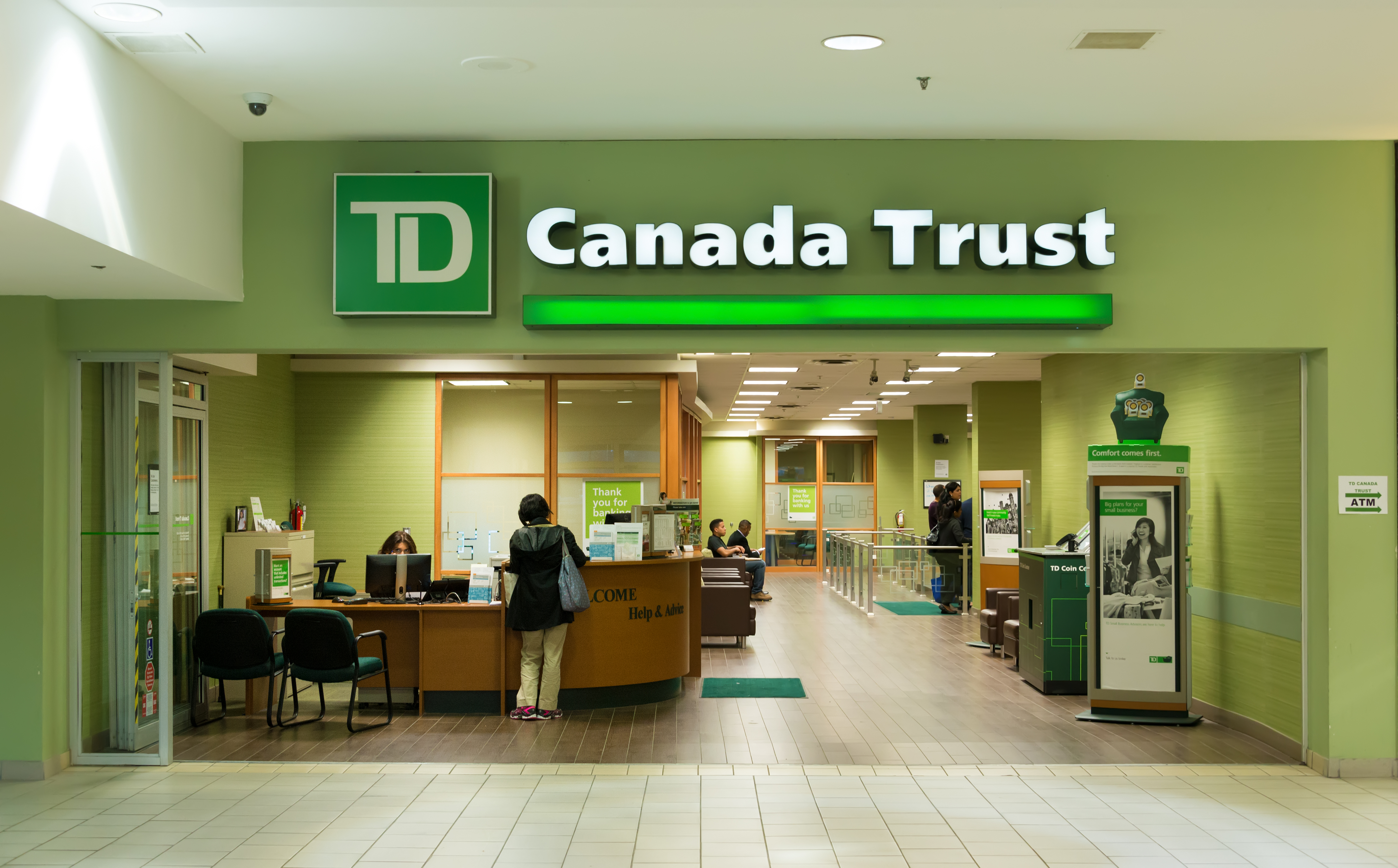 TD Bank branch entrance. The Toronto-Dominion Bank is a