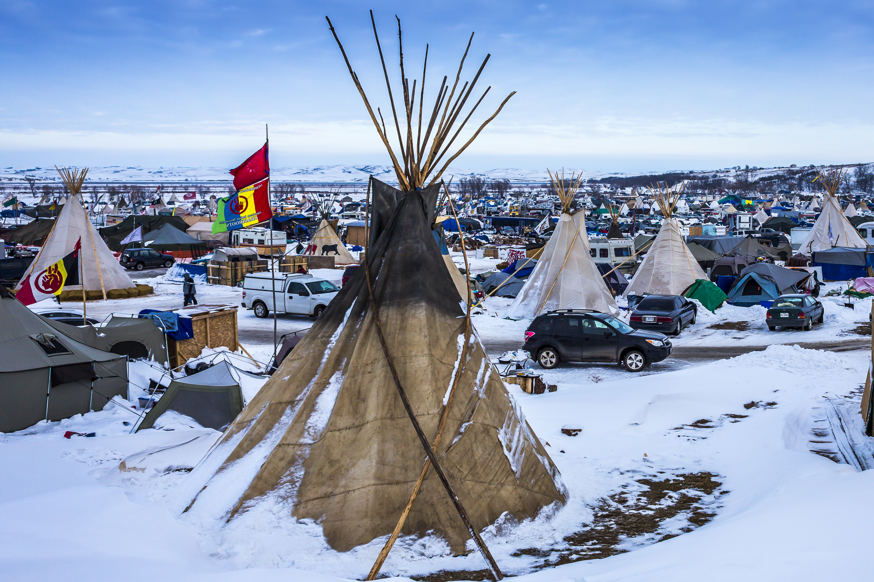 An estimated ten thousand water protectors, both indigenous