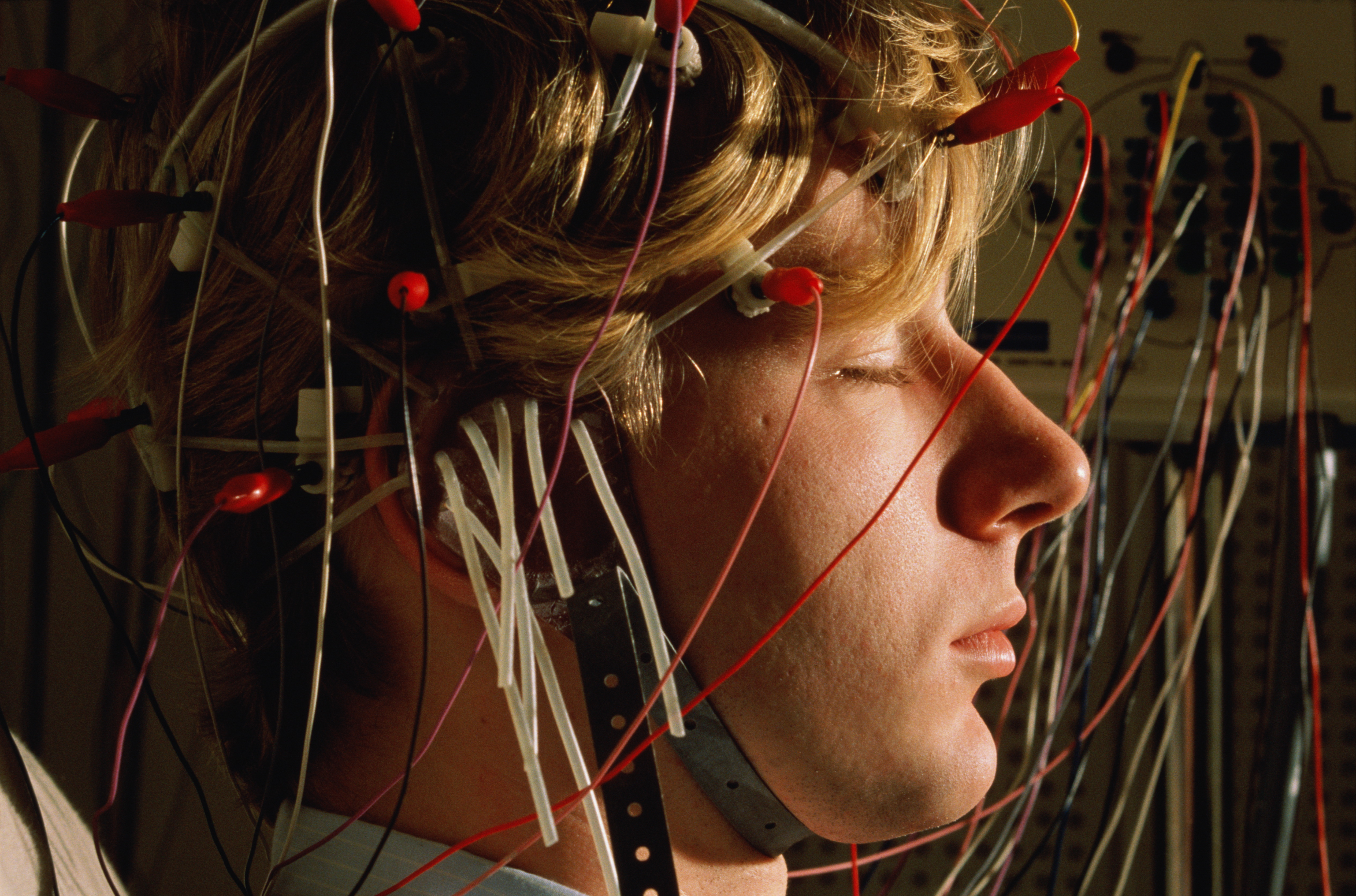Pharmaceutical research, electrical activity of brain monitored by EEG