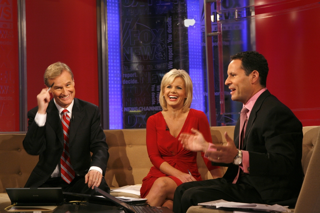 "NEW YORK, NEW YORK––October 16, 2008––The three anchors of ""Fox & Friends"" are (left to right) Stev"