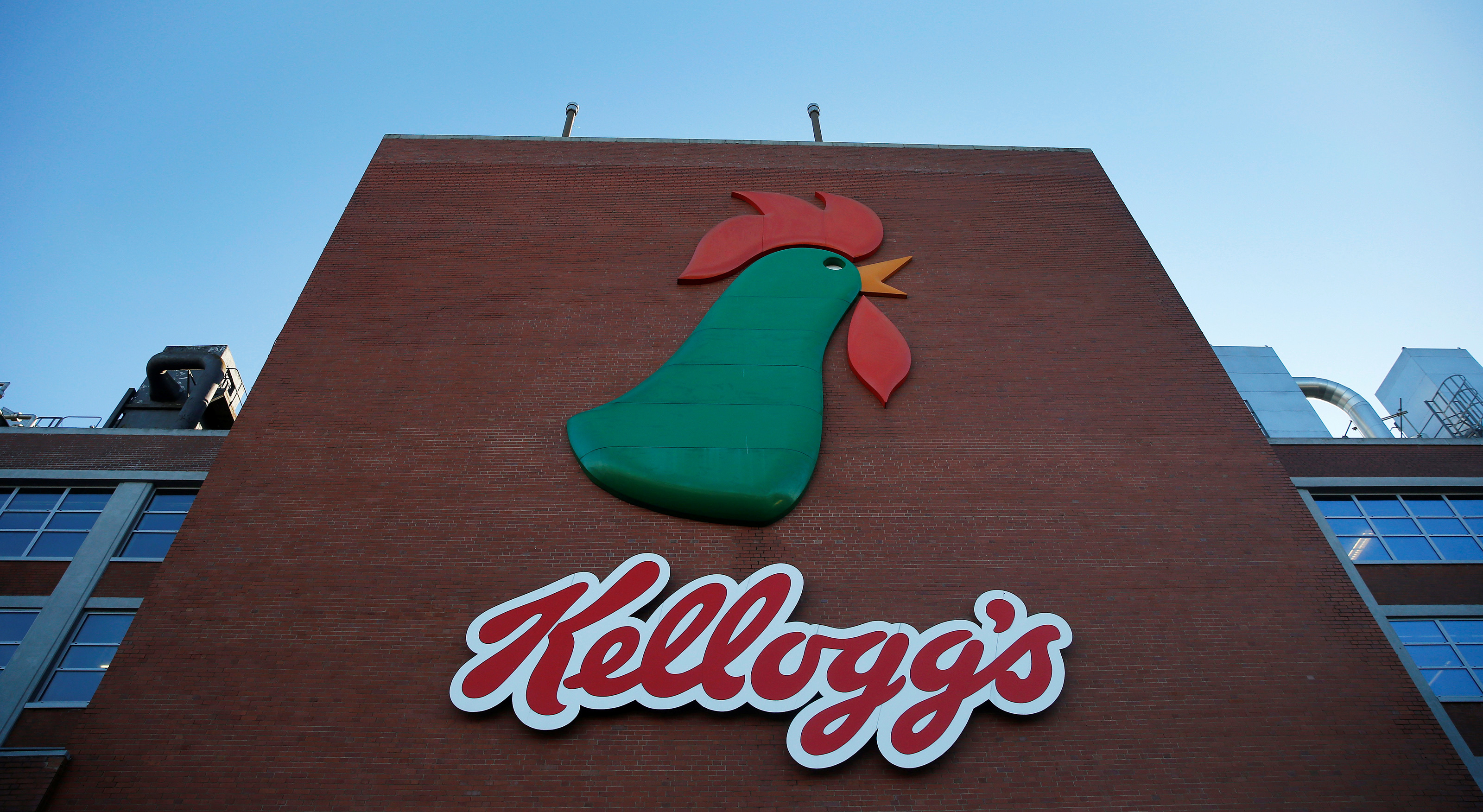 A sign hangs outside the Kellogg's factory near Manchester