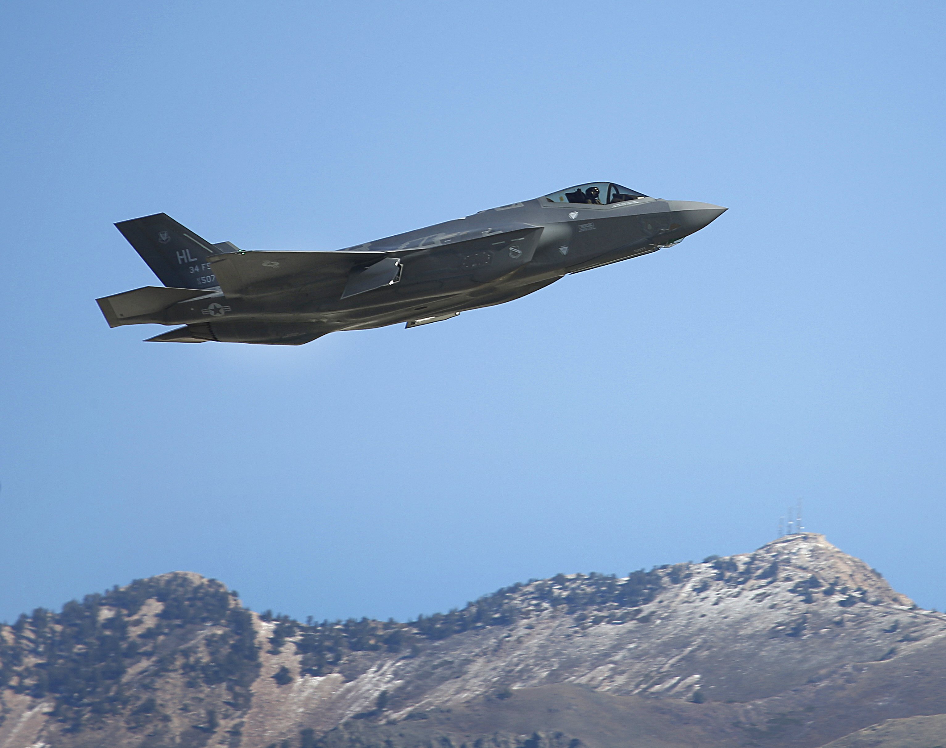 A Lockheed Martin Corp. F-35A jet flies during a training mission in Hill Air Force Base, Utah, U.S., on Friday, Oct. 21, 2016.