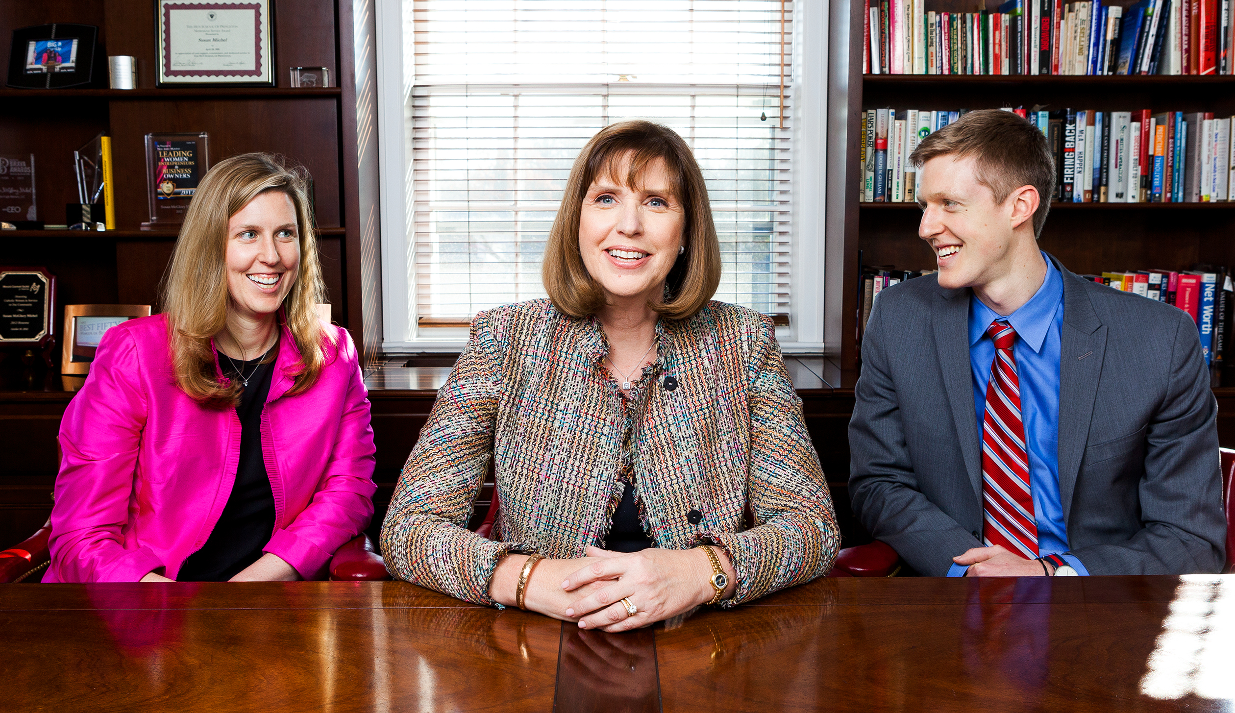 FAMILIAL ADVICE: Susan ­Michel (center) and her children Carol Ann and Rob at her Princeton, N.J., financial firm, which the kids may run someday.