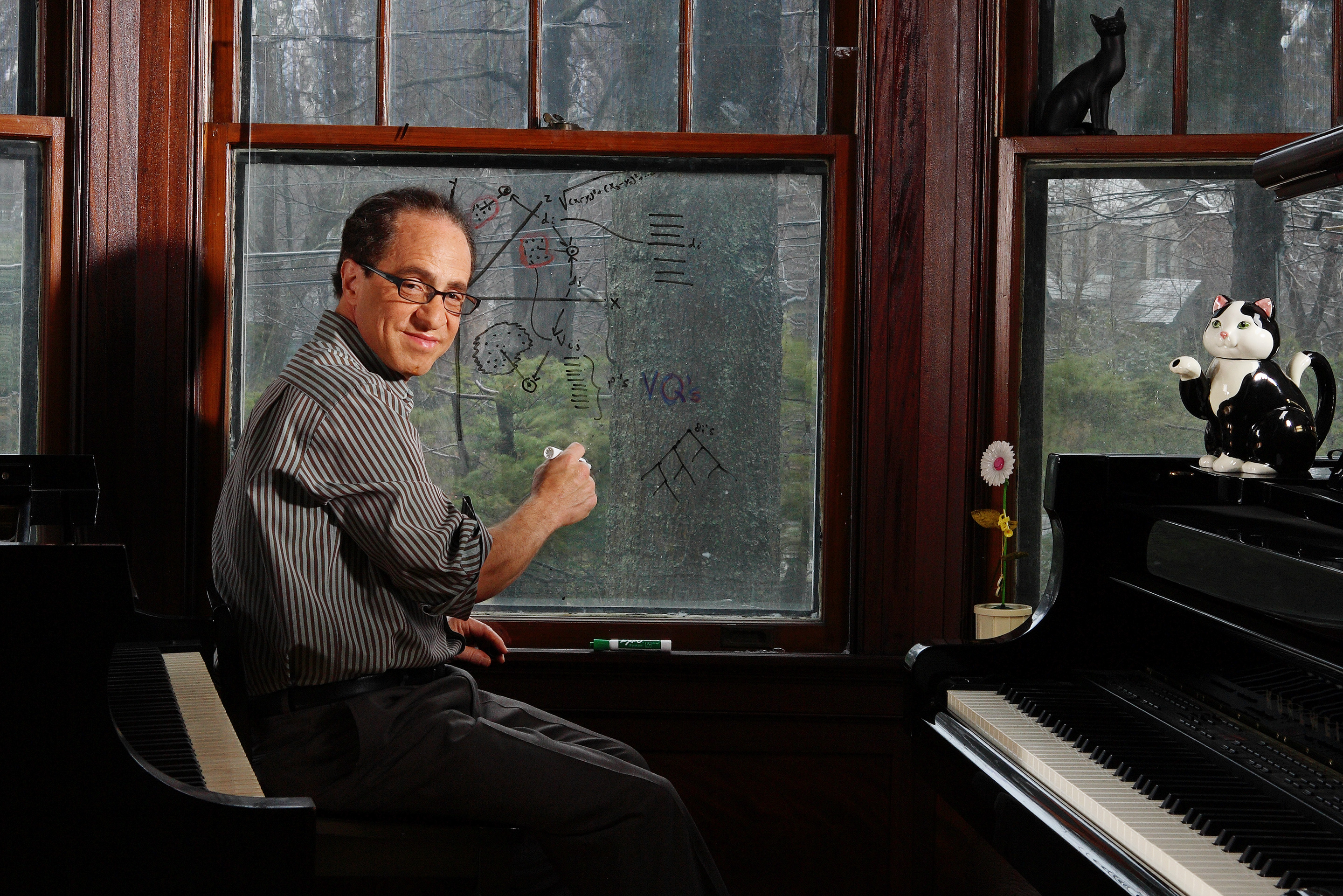 Still life with innovator: Kurzweil at his home near Boston.