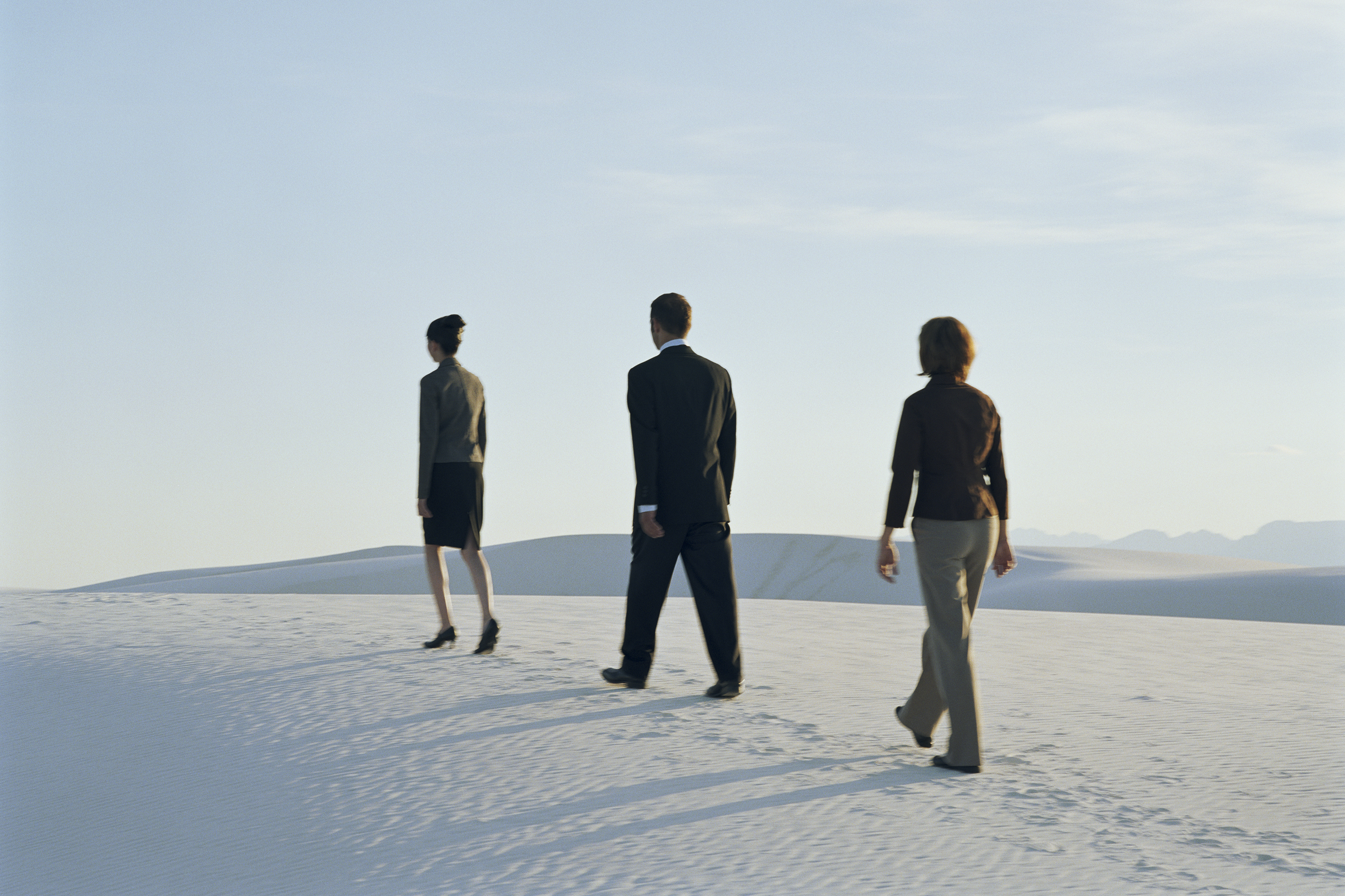 Businesspeople walking on sand dune, rear view (soft focus)