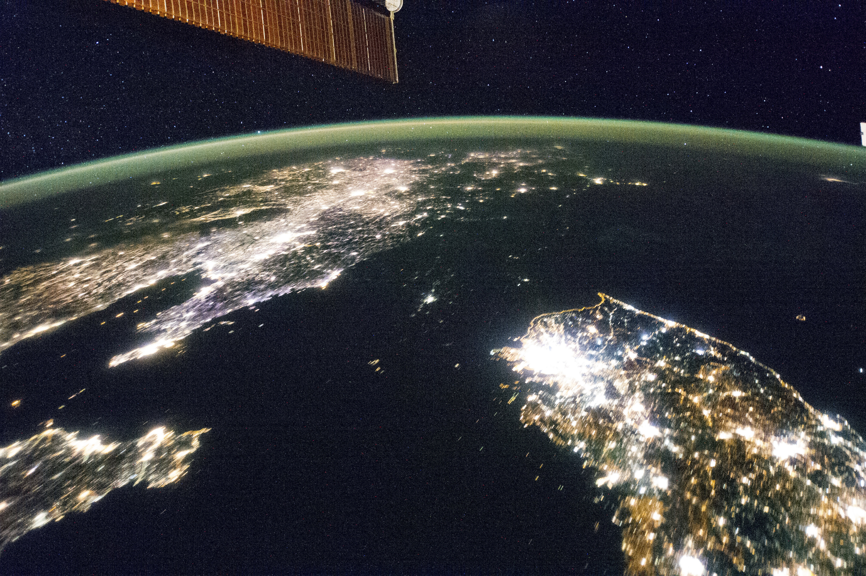 Undated NASA handout picture of North Korea (the dark area) and South Korea as seen from the International Space Station